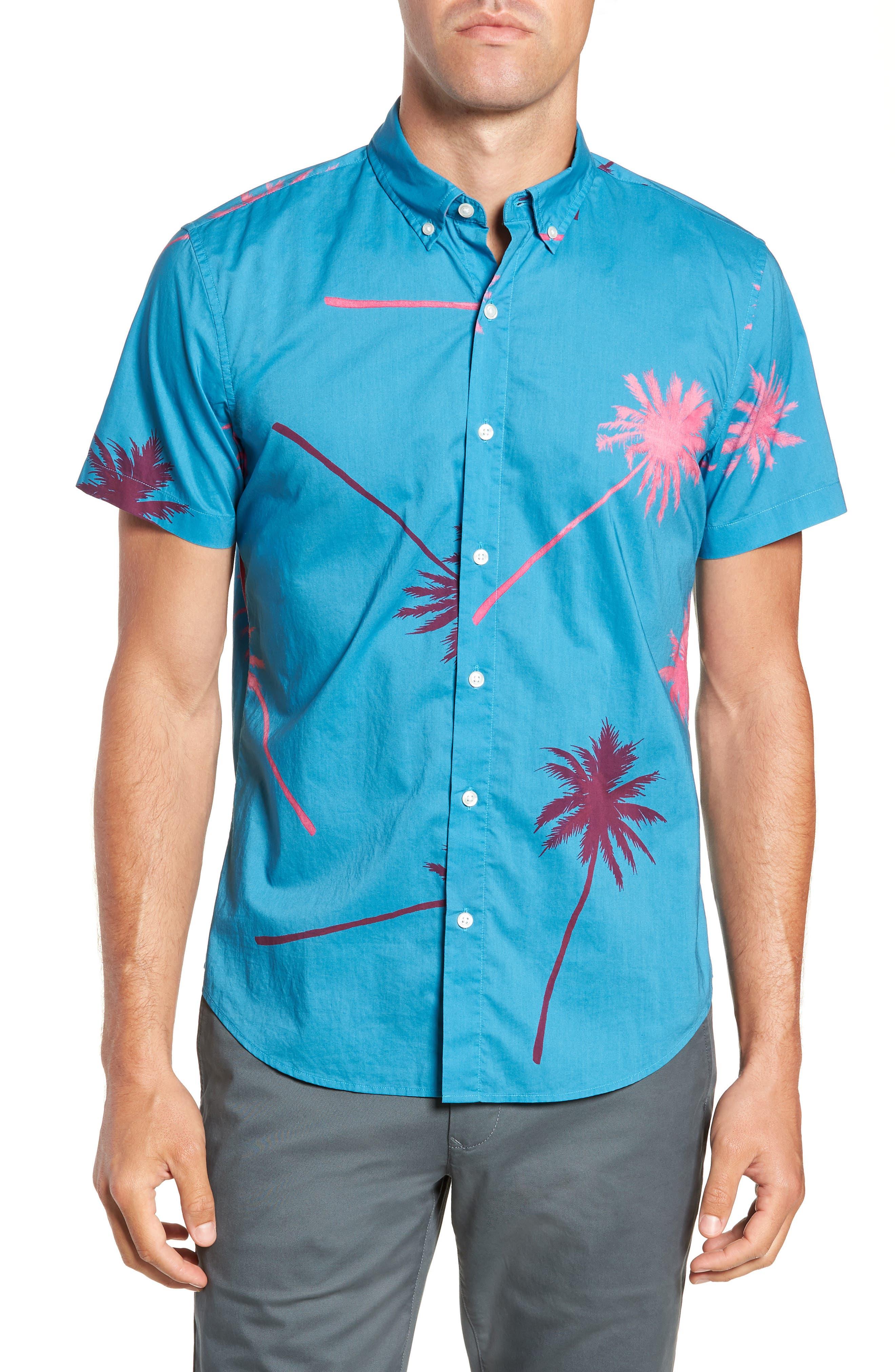 Slim Fit Palm Tree Sport Shirt,                         Main,                         color, 400