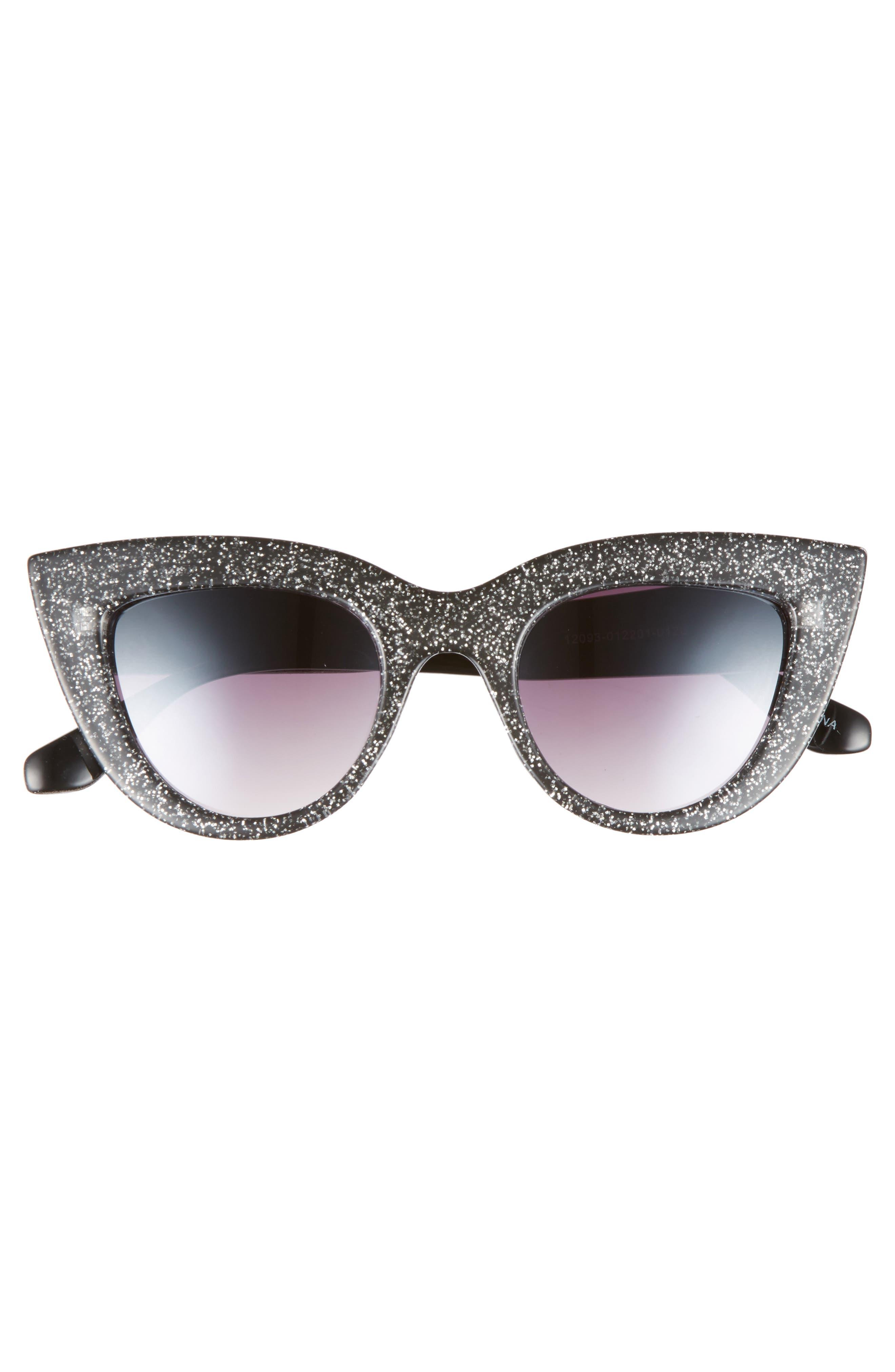 45mm Glitter Cat Eye Sunglasses,                             Alternate thumbnail 3, color,                             001