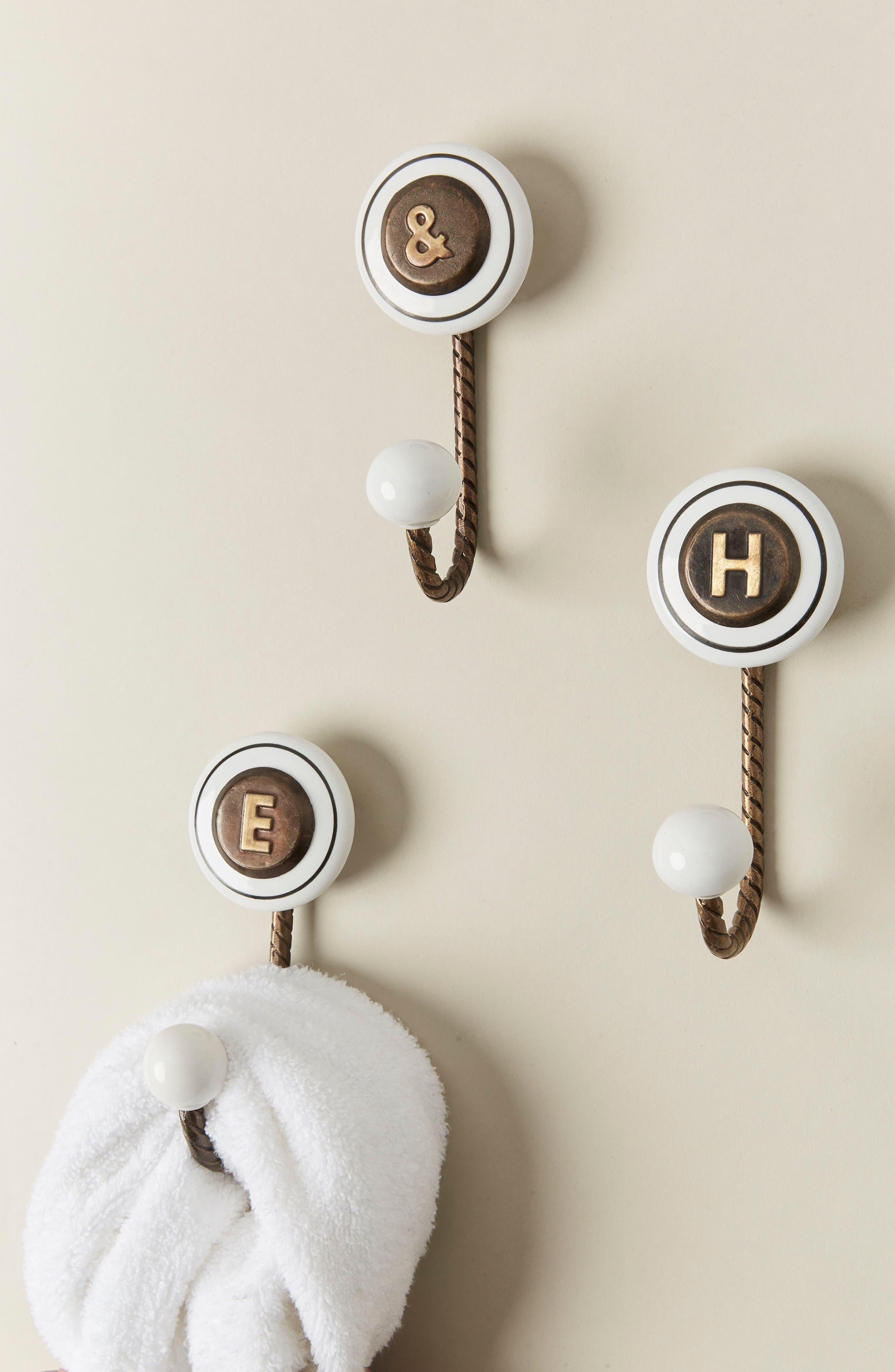 Cachet Monogram Towel Hook,                         Main,                         color, BROWN
