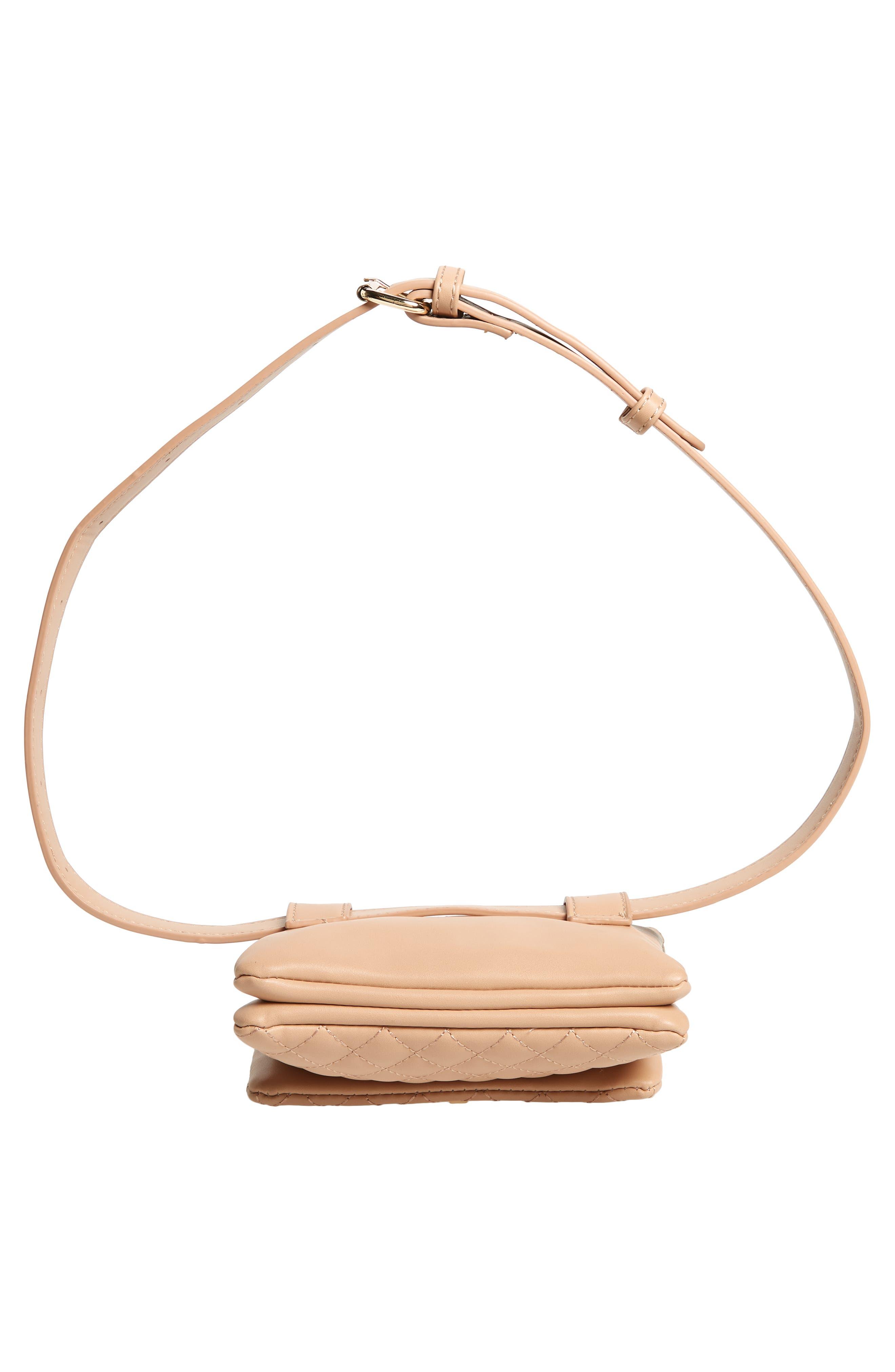 Mali + Lili Quilted Vegan Leather Belt Bag,                             Alternate thumbnail 8, color,                             CAMEL