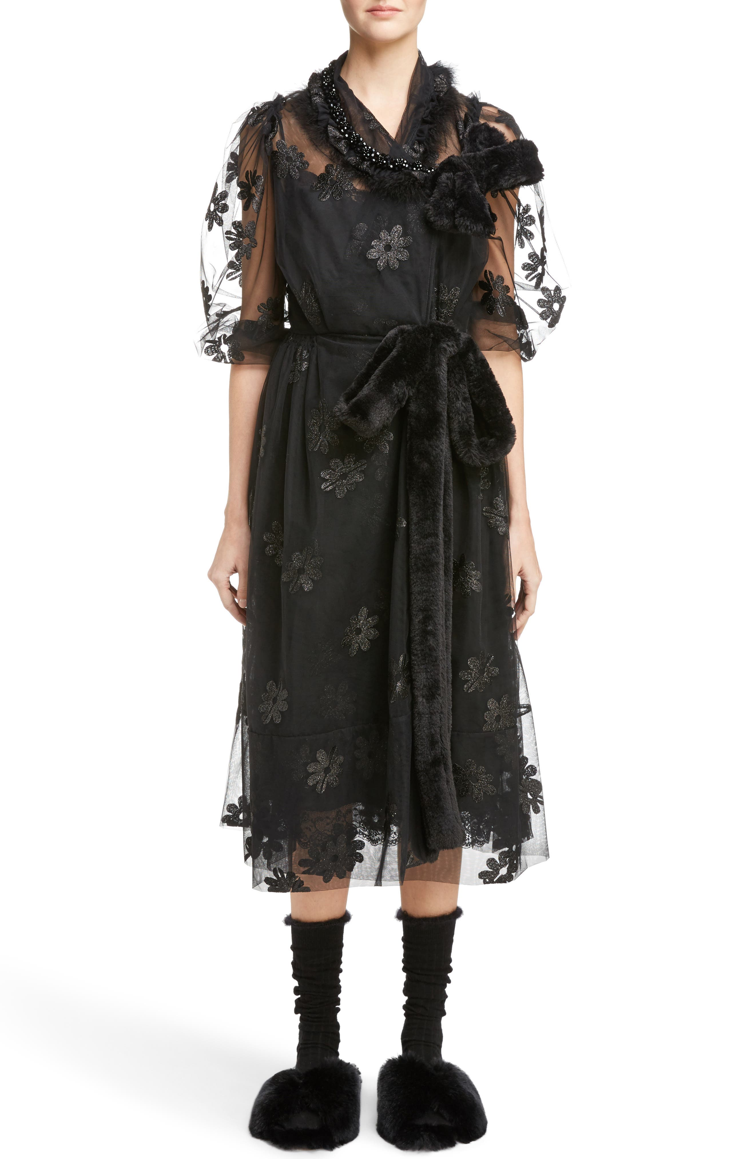Teddy Floral Embroidered Tulle Dress with Feather and Faux Fur Trim,                         Main,                         color, 001