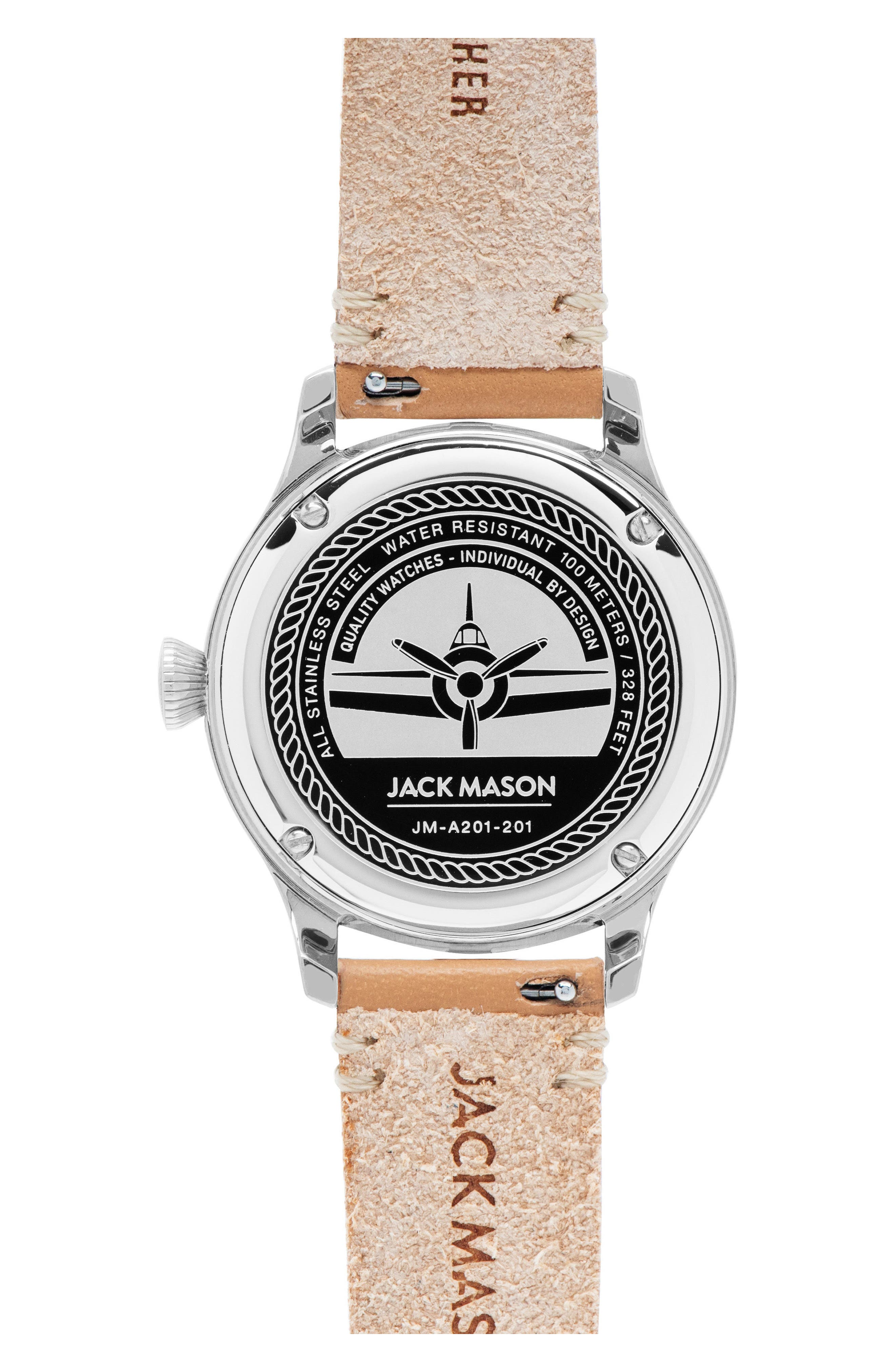 Aviation Leather Strap Watch, 36mm,                             Alternate thumbnail 2, color,                             200