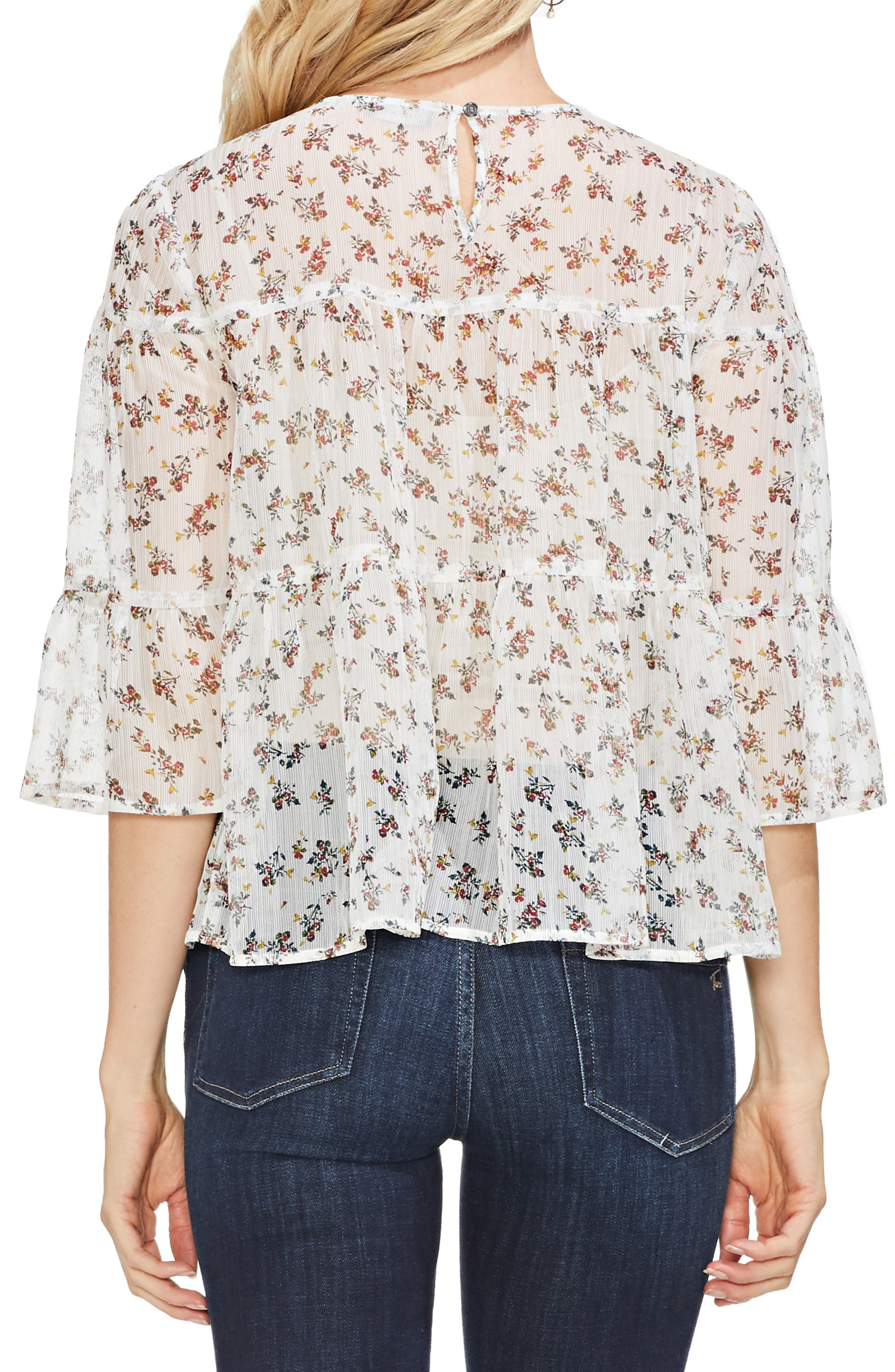 VINCE CAMUTO, Ditsy Manor Tiered Ruffle Blouse, Alternate thumbnail 2, color, 108