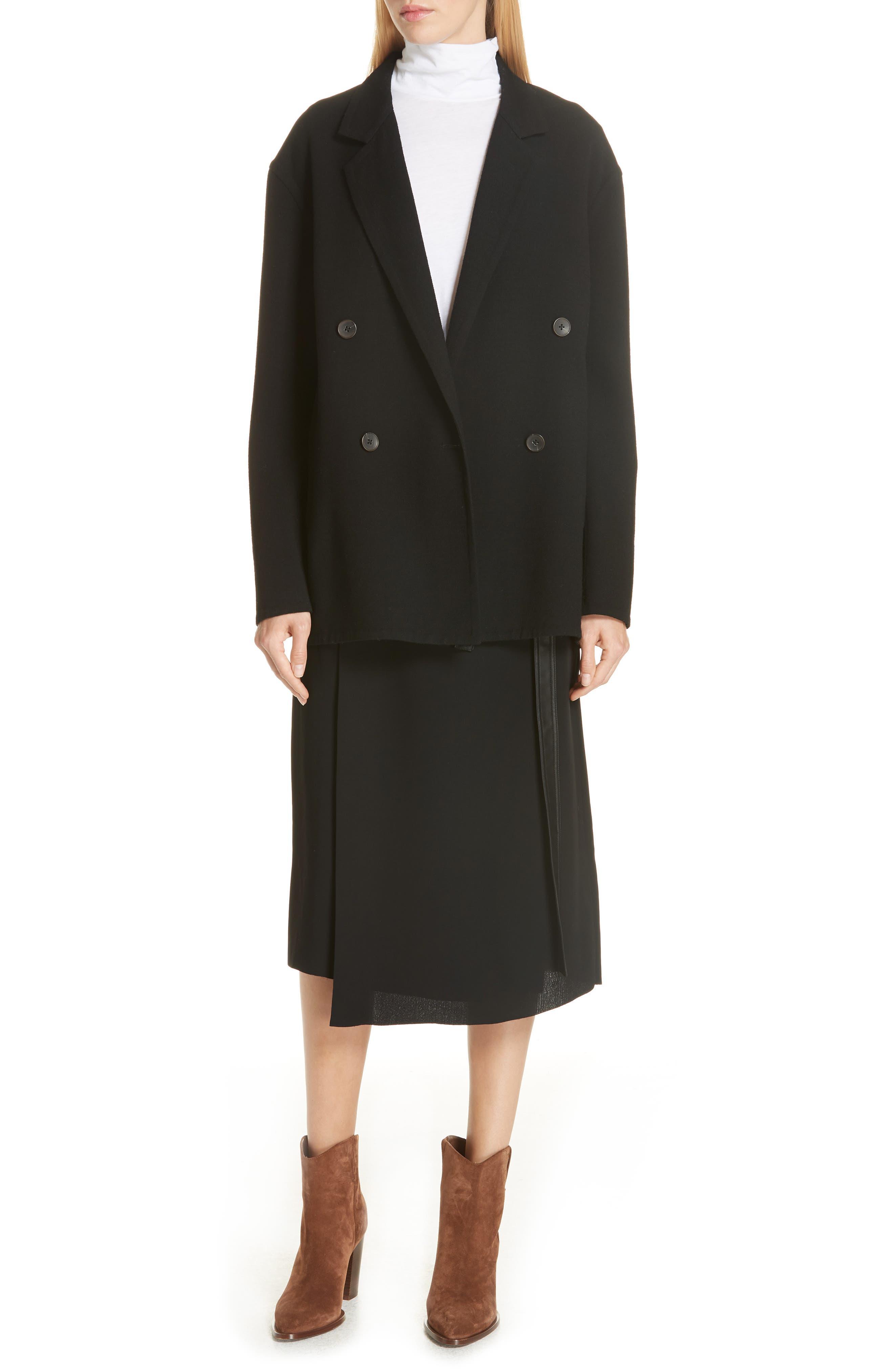 Belted Wrap Skirt,                             Alternate thumbnail 7, color,                             BLACK
