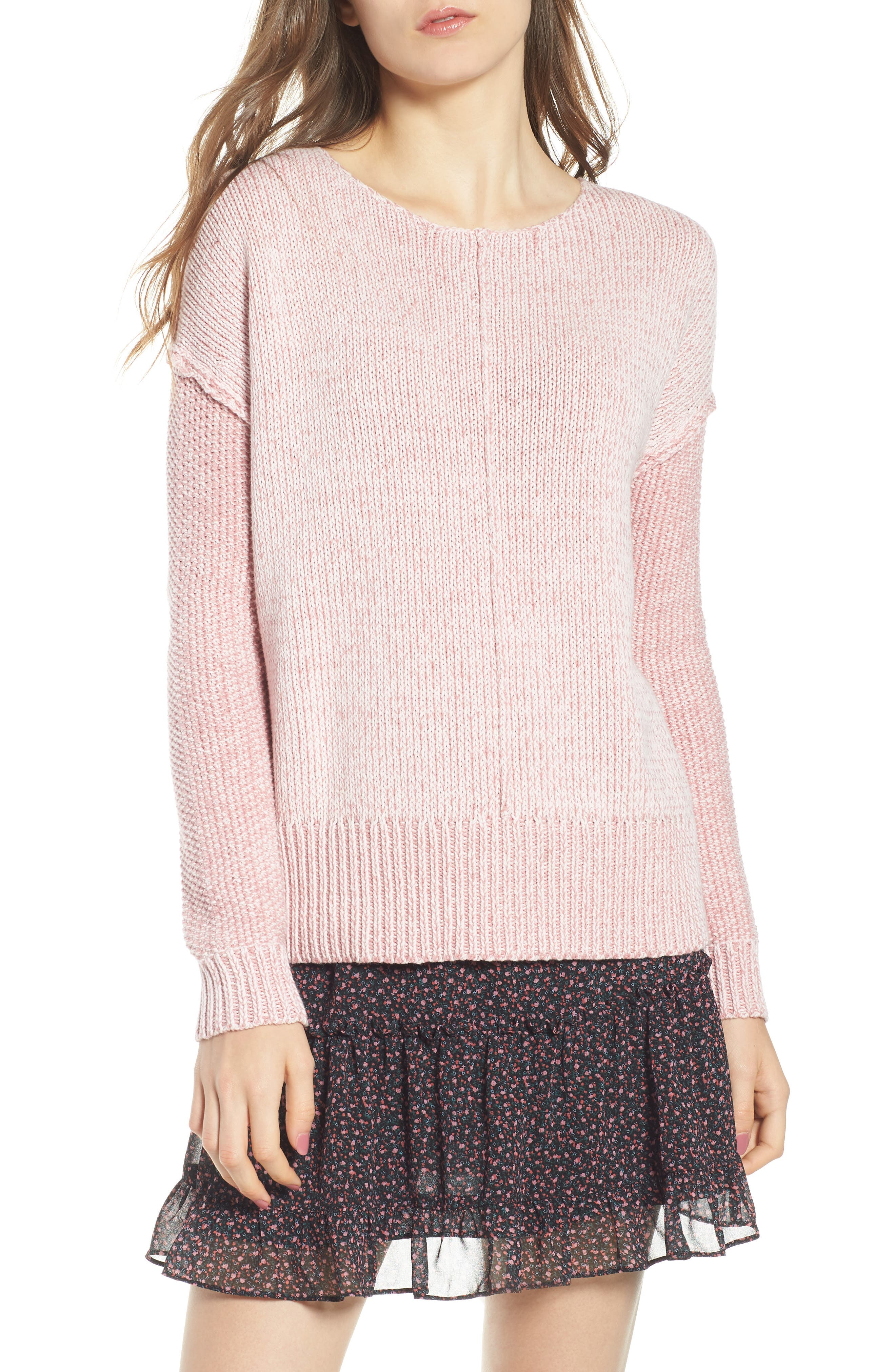 Lola Reversible Twist Sweater,                         Main,                         color, PALE PINK