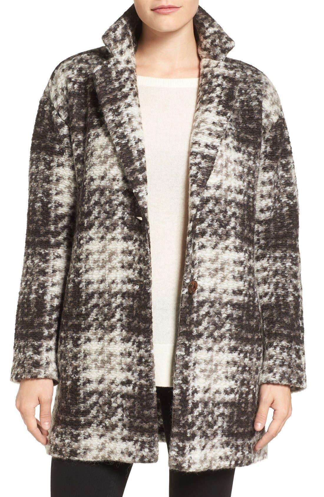 BERNARDO Plaid Sweater Coat, Main, color, 200