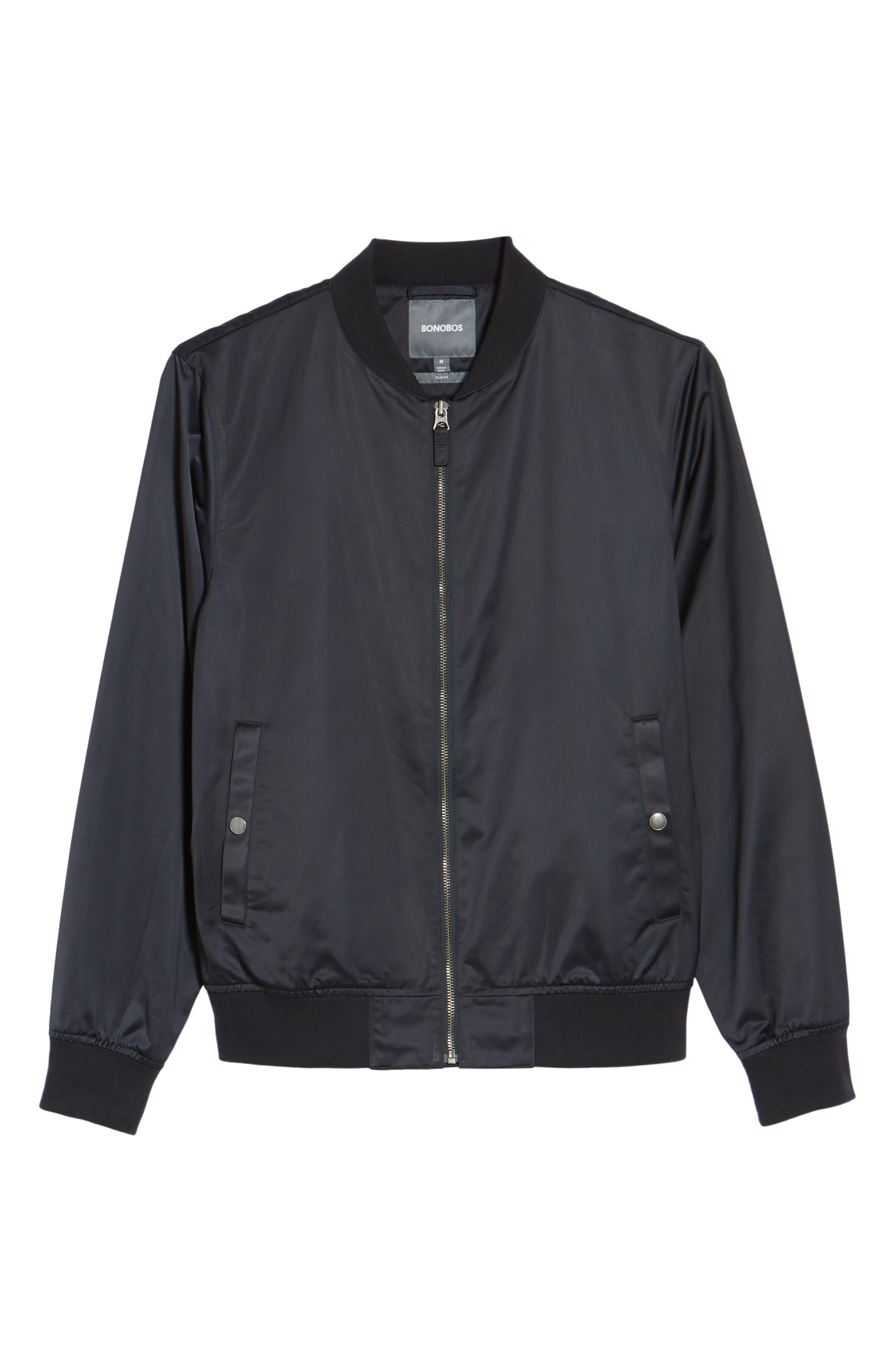 Moto Bomber Jacket,                             Alternate thumbnail 5, color,                             NAVY