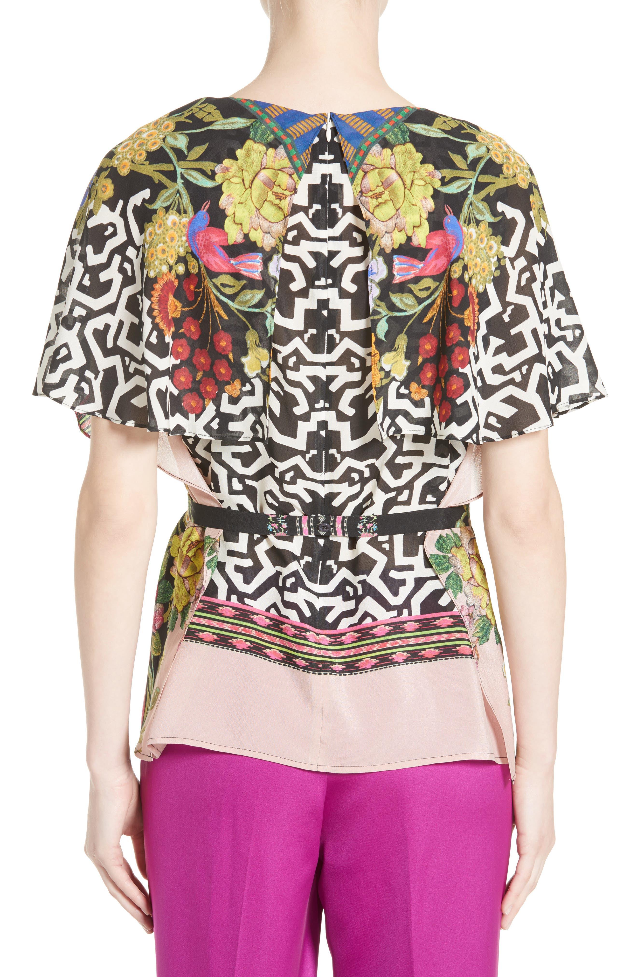 Floral & Maze Print Silk Blouse,                             Alternate thumbnail 2, color,                             650