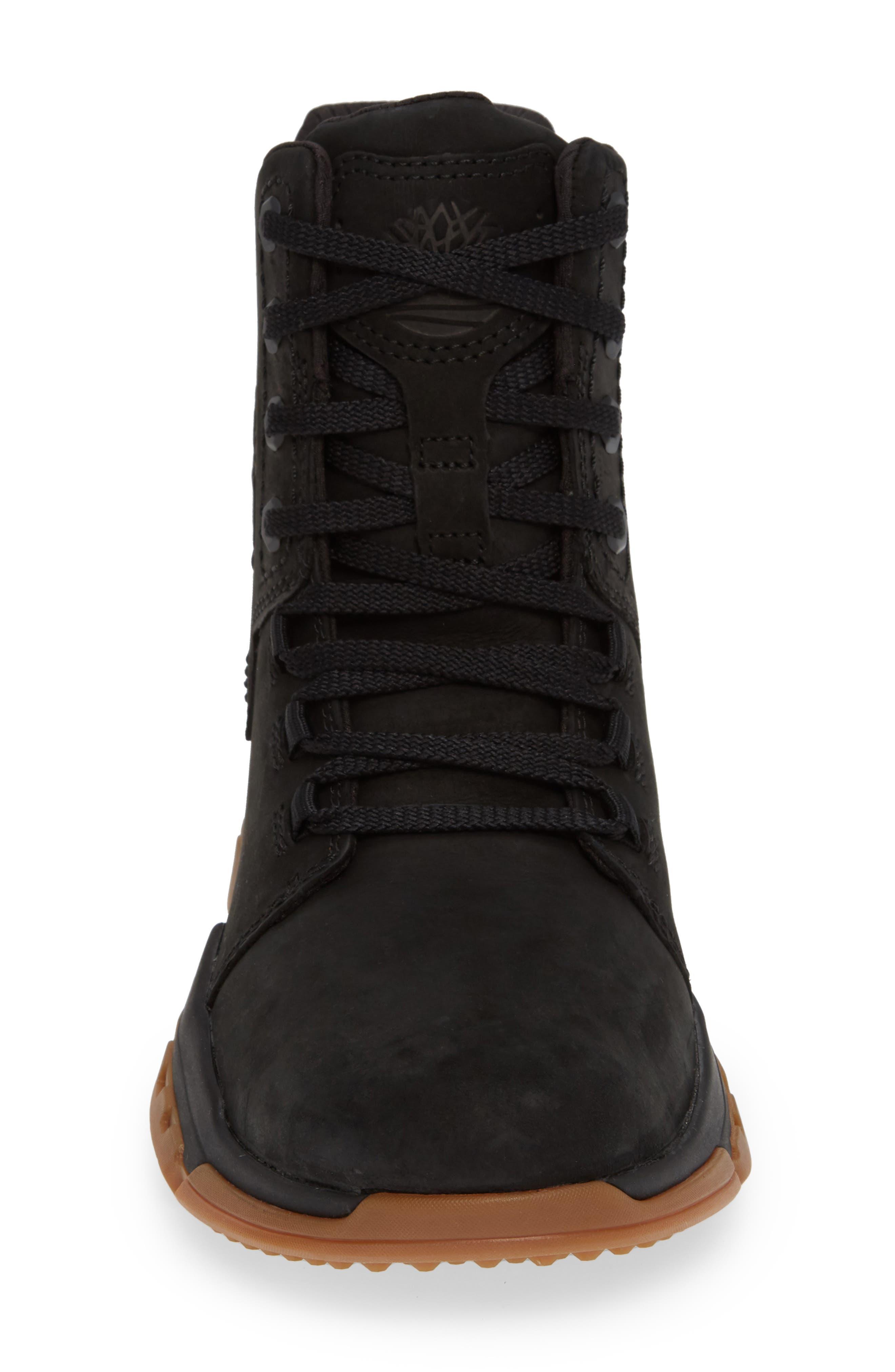 City Force Reveal Plain Toe Boot,                             Alternate thumbnail 4, color,                             BLACK LEATHER/ NEOPRENE