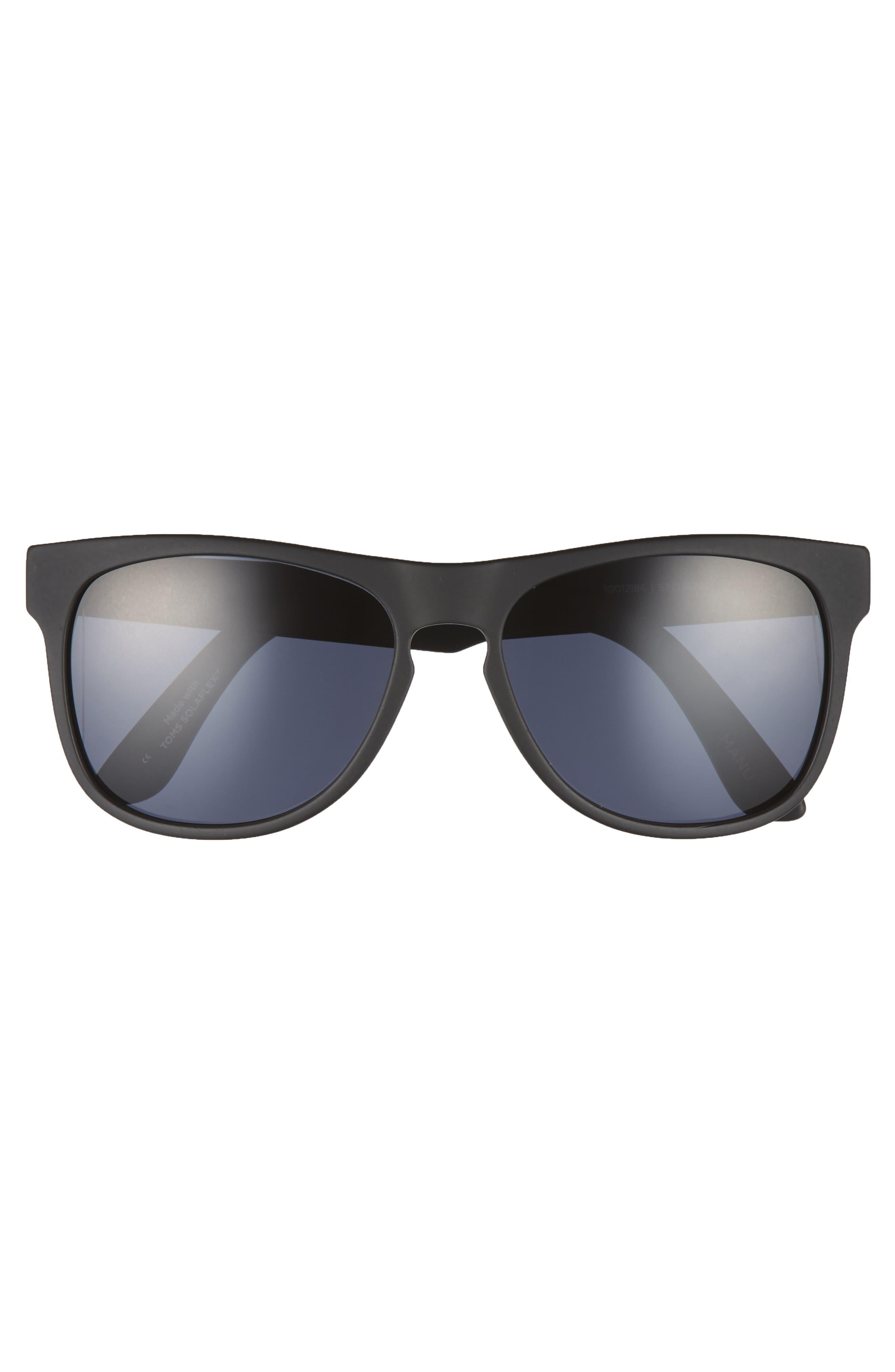 Manu 57mm Polarized Sunglasses,                             Alternate thumbnail 2, color,                             MATTE BLACK POLAR