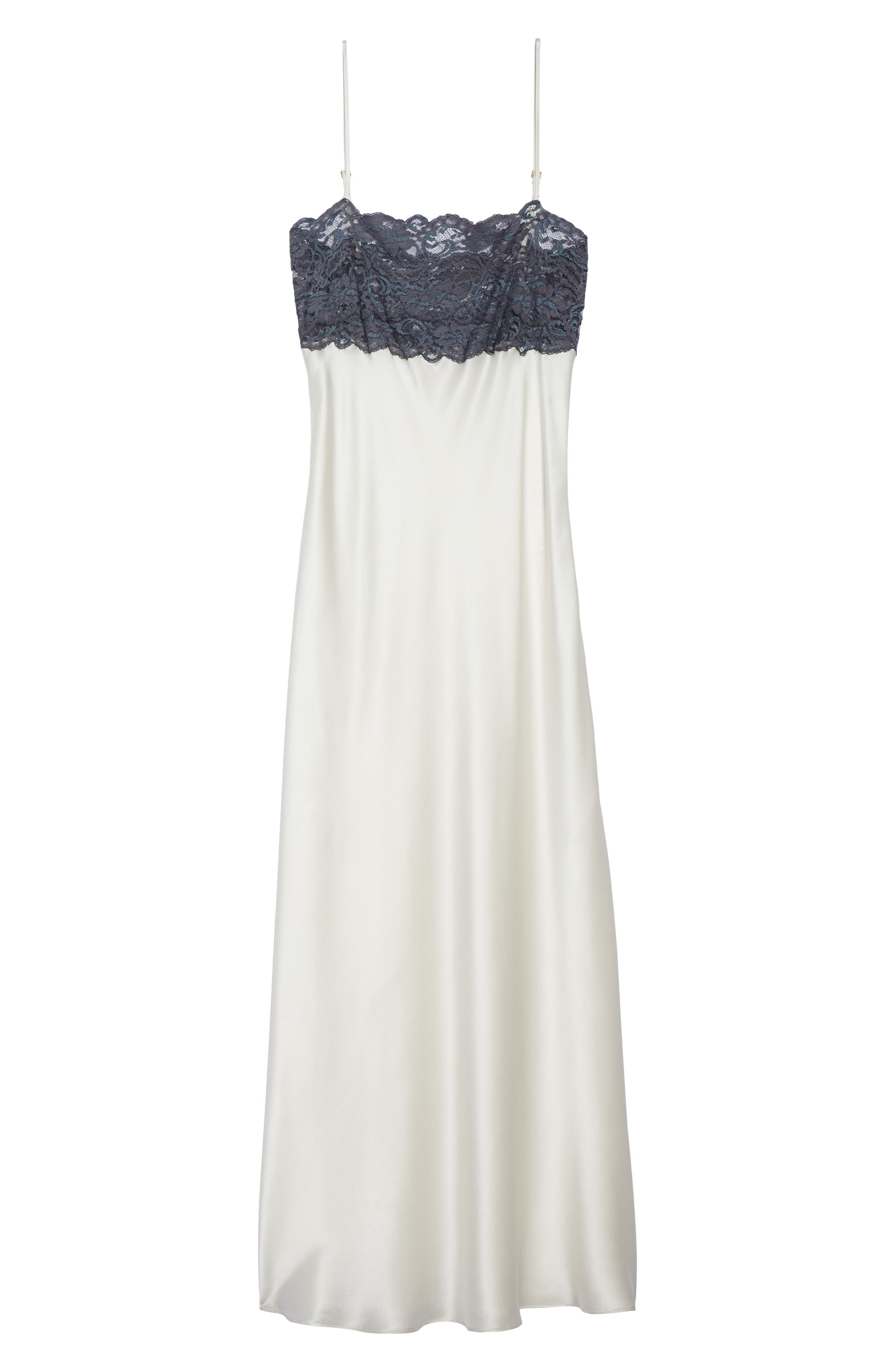 Christine Stretch Lace Silk Nightgown,                             Alternate thumbnail 6, color,                             PEARL / GRAPHITE