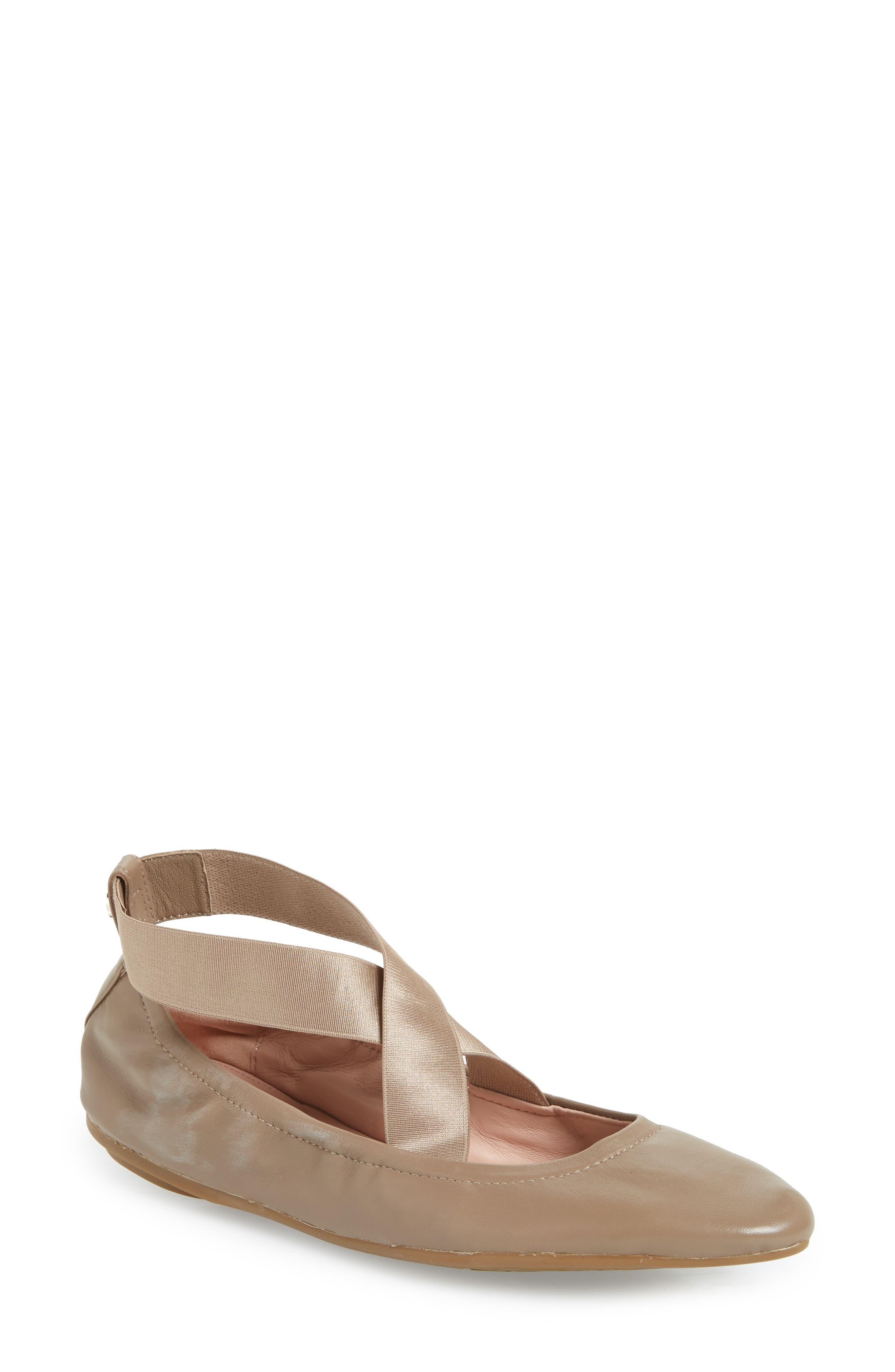 Taryn Rose Edina Strappy Ballet Flat, Beige