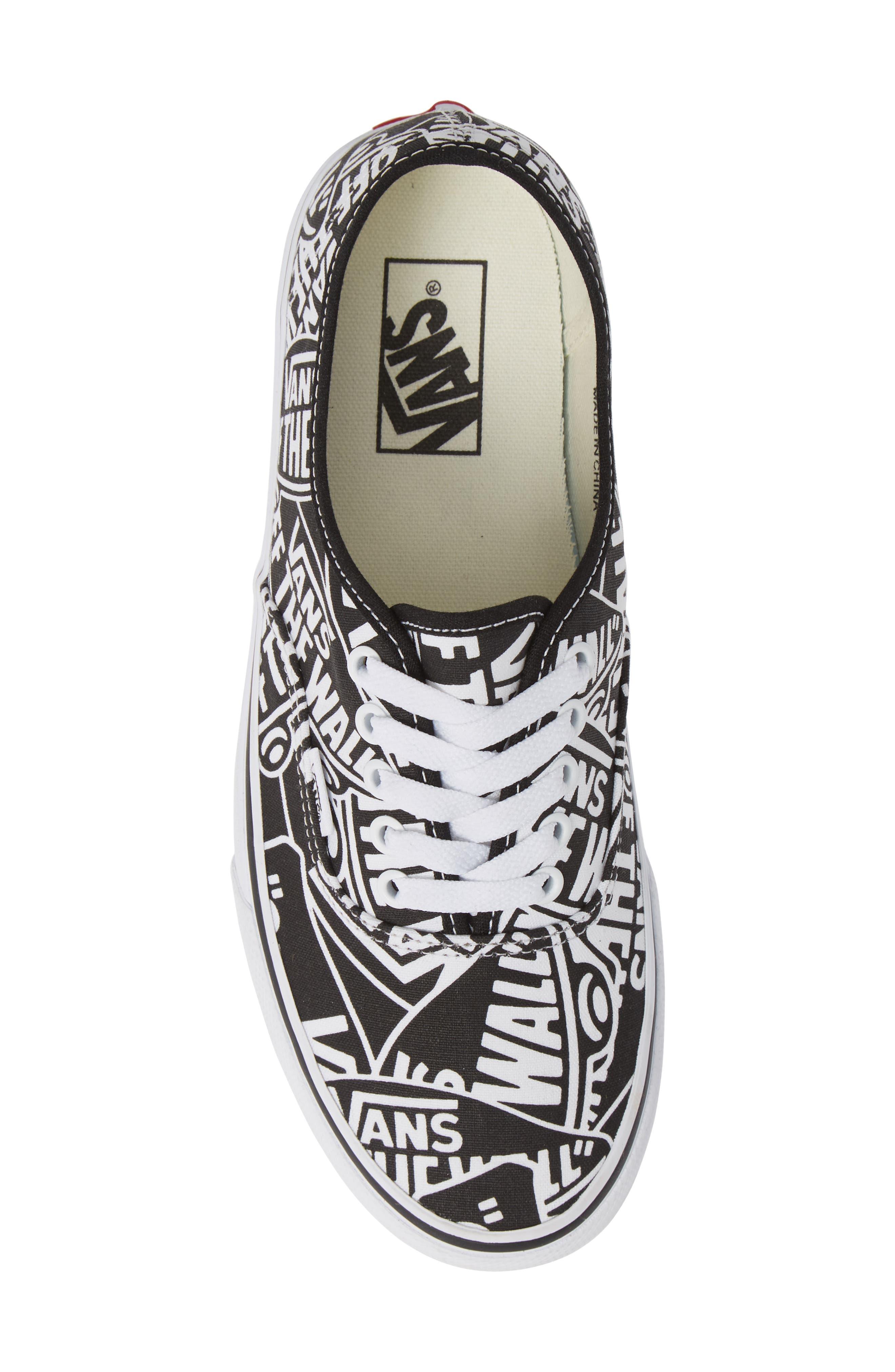 Authentic Sneaker,                             Alternate thumbnail 5, color,                             BLACK/ WHITE