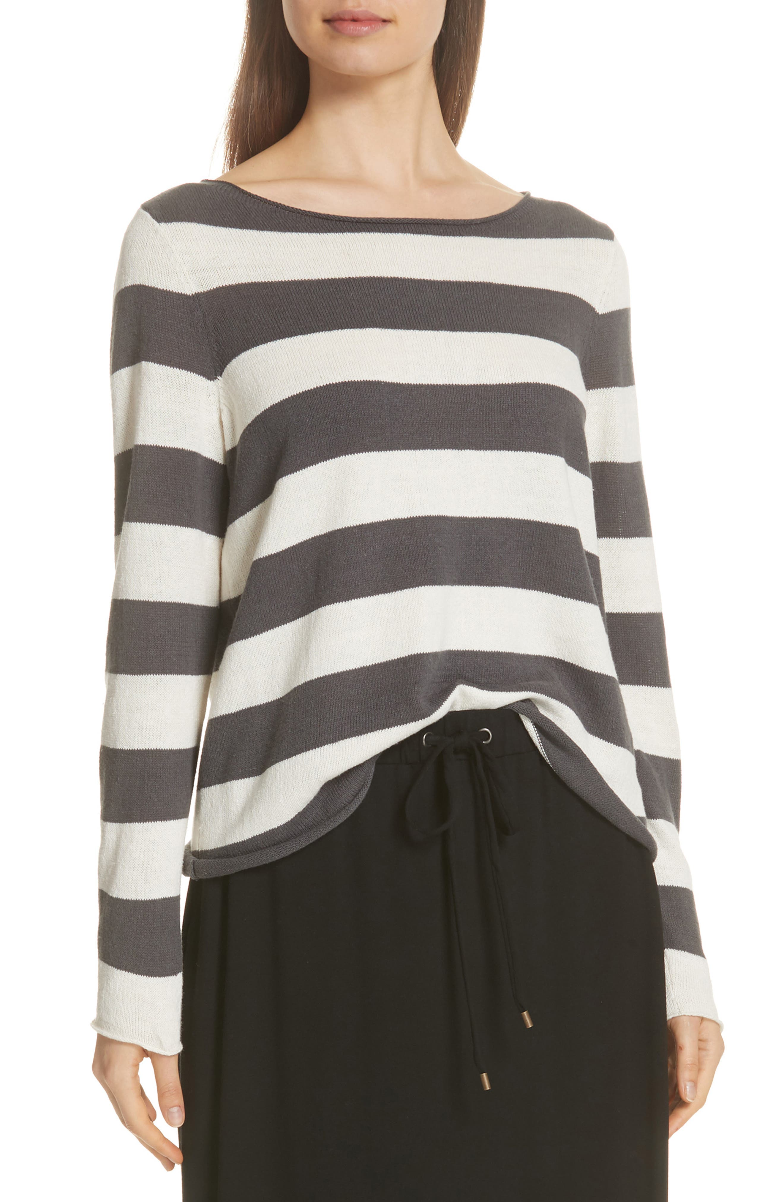 Stripe Cotton & Hemp Sweater,                         Main,                         color, 166