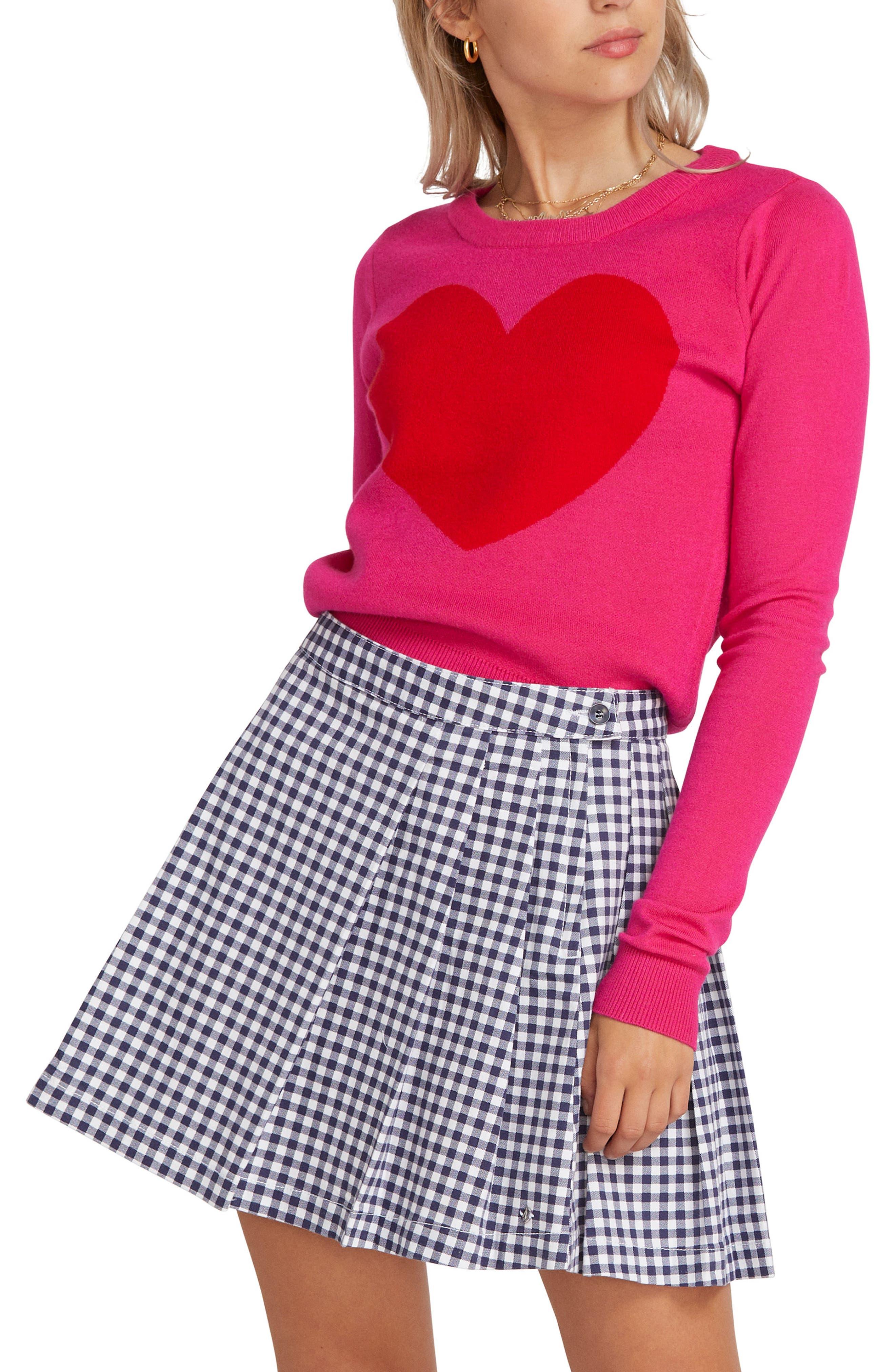Volcom X Georgia May Jagger Heart Sweater, Pink