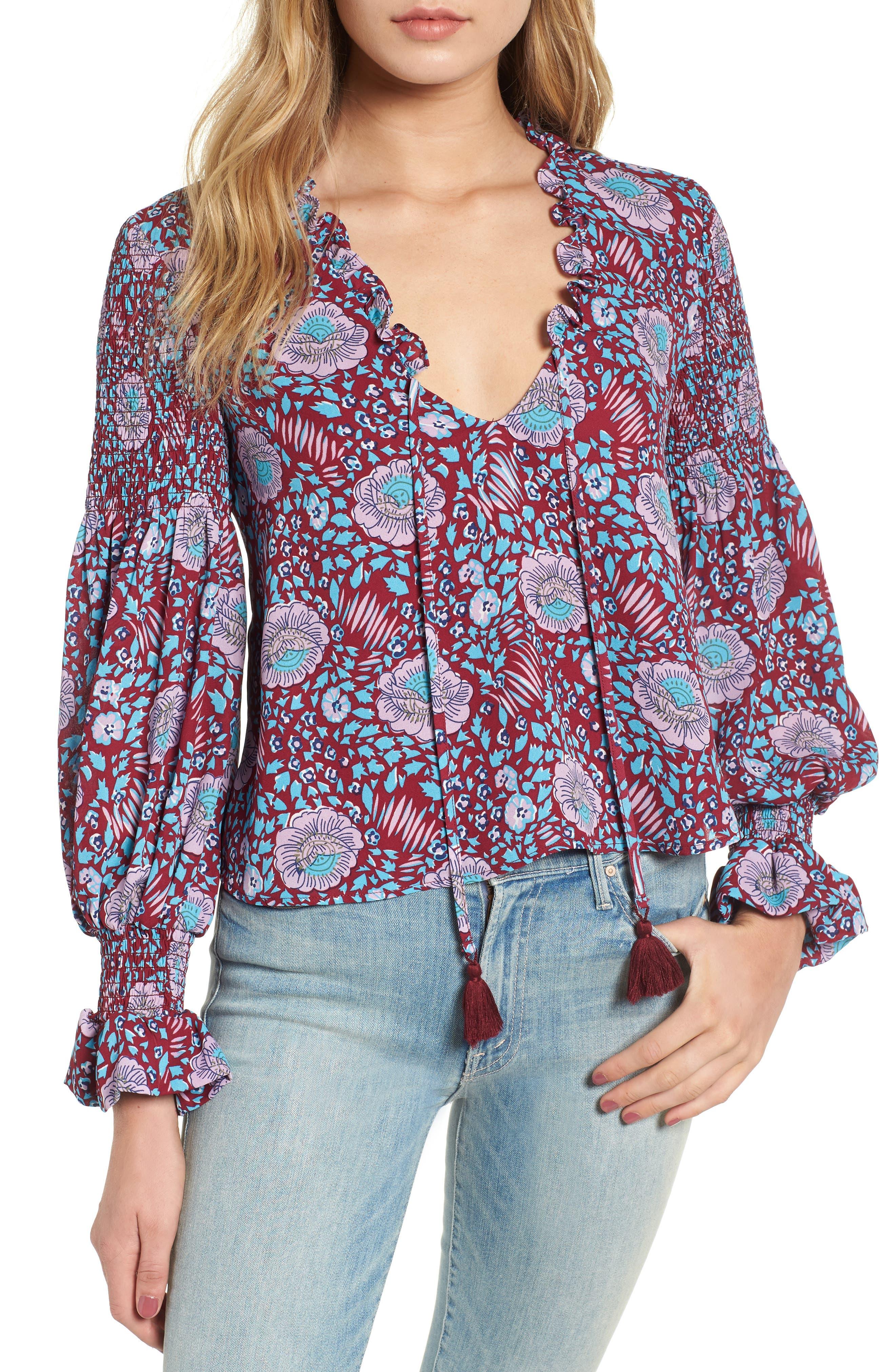 Penelope Floral Ruffle Top,                         Main,                         color, DARK RED MULTI