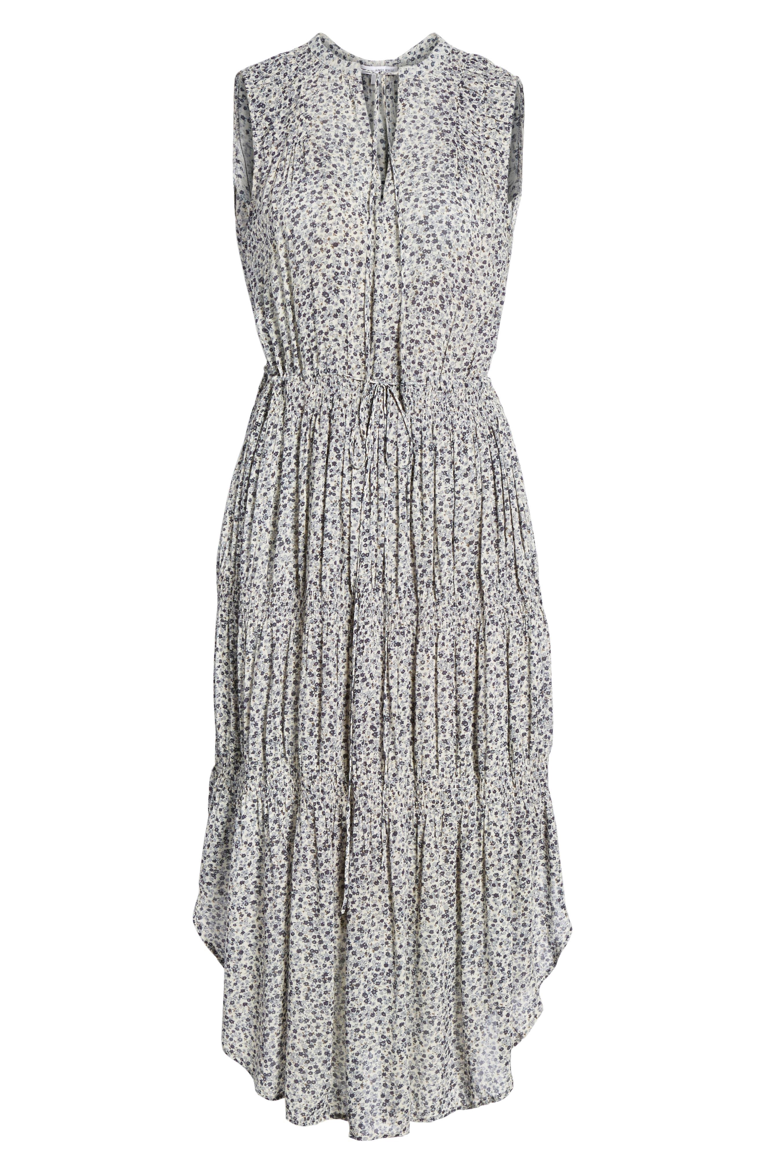 Floral Pleated Midi Dress,                             Alternate thumbnail 6, color,                             082