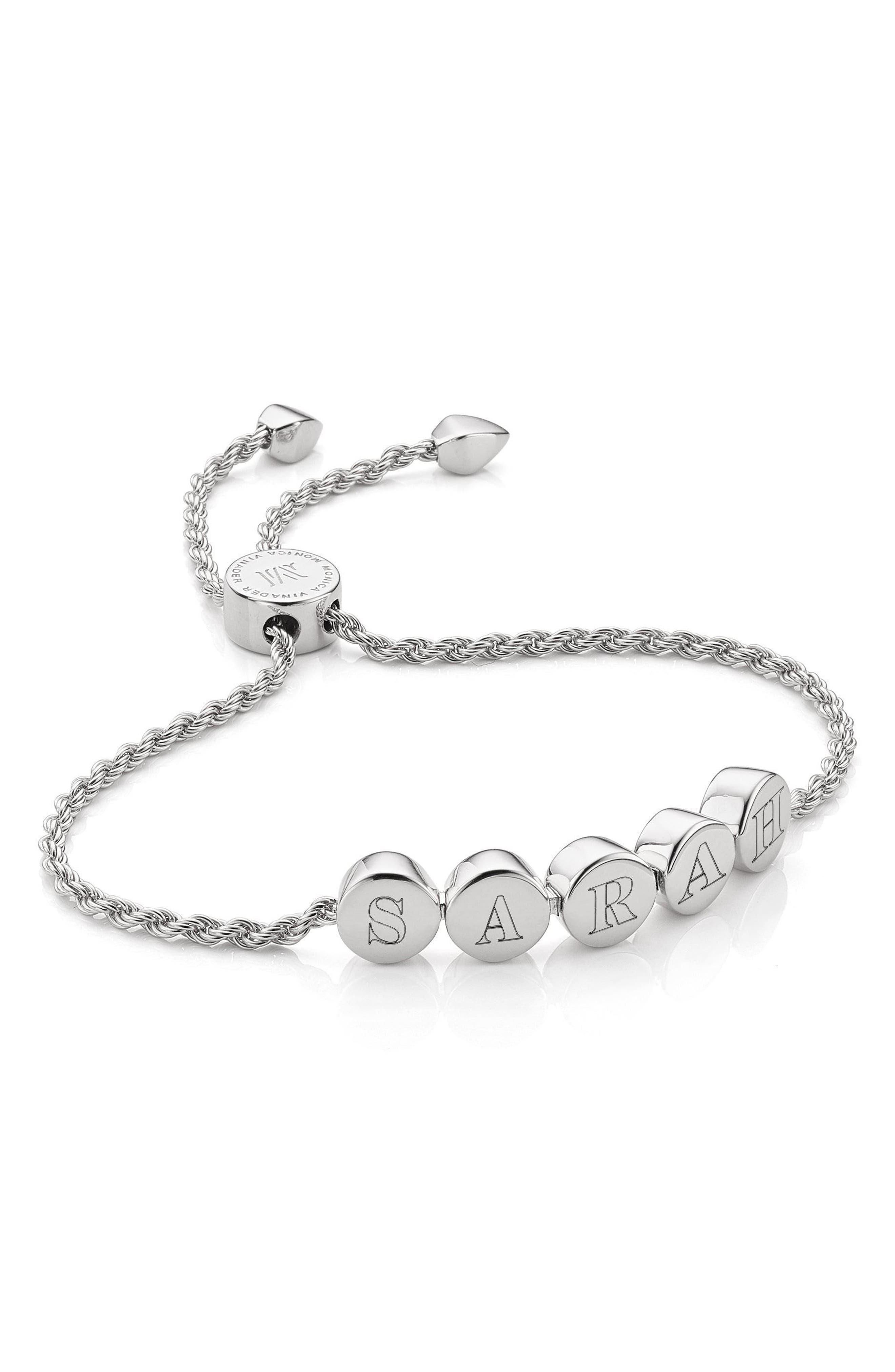 Engravable Linear Bead Friendship Bracelet,                             Alternate thumbnail 2, color,                             SILVER
