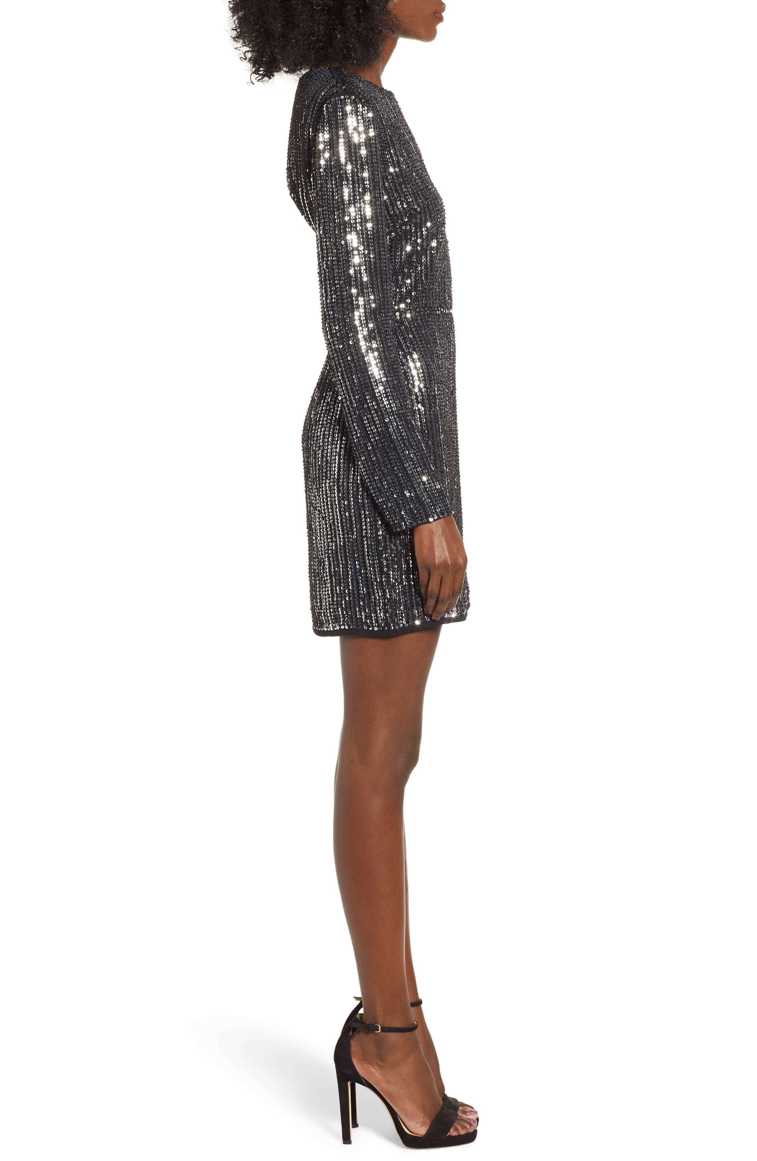 Open Back Sequin Dress,                             Alternate thumbnail 3, color,                             SILVER