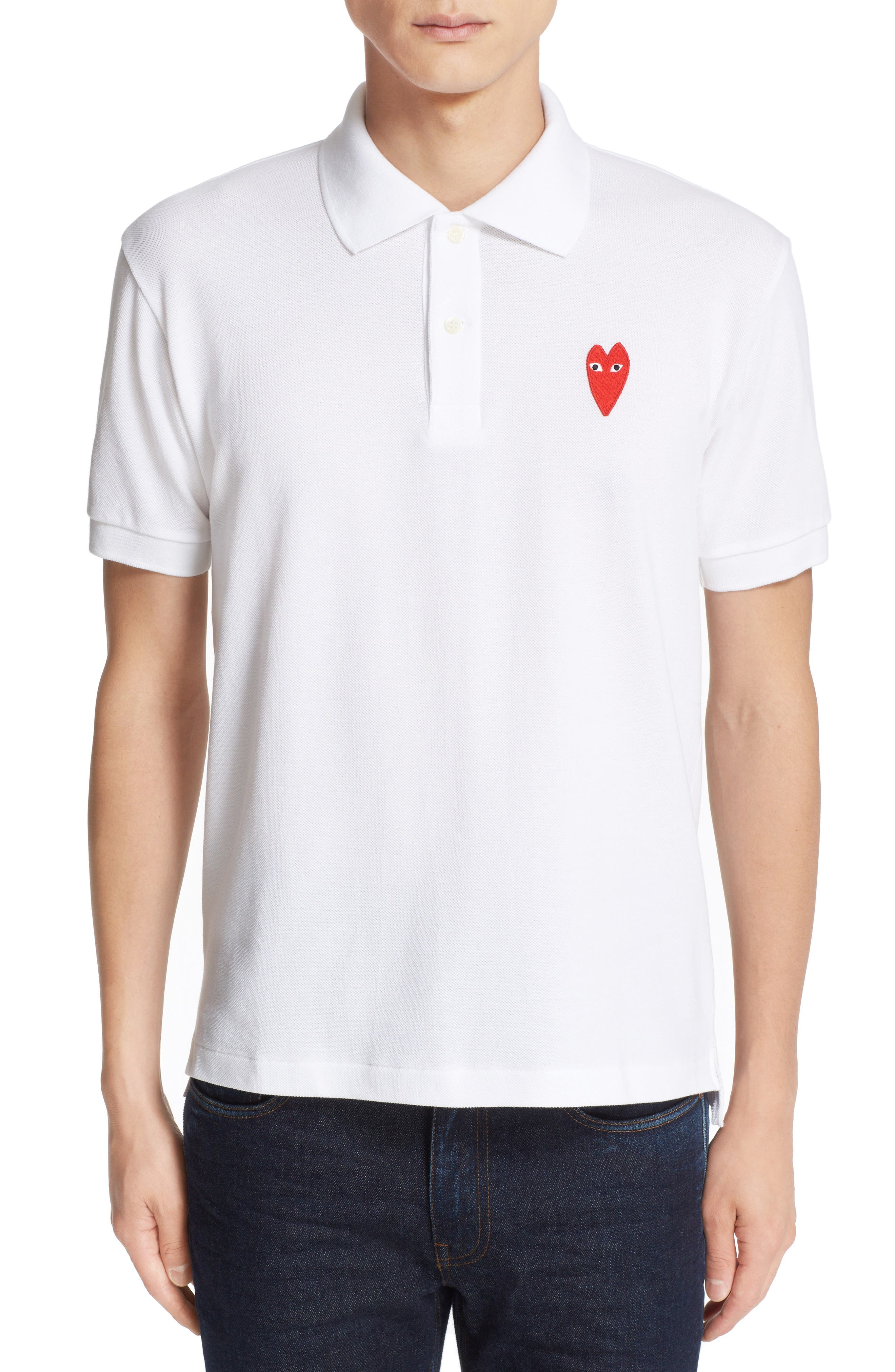 Stretch Heart Face Polo,                             Main thumbnail 1, color,                             WHITE