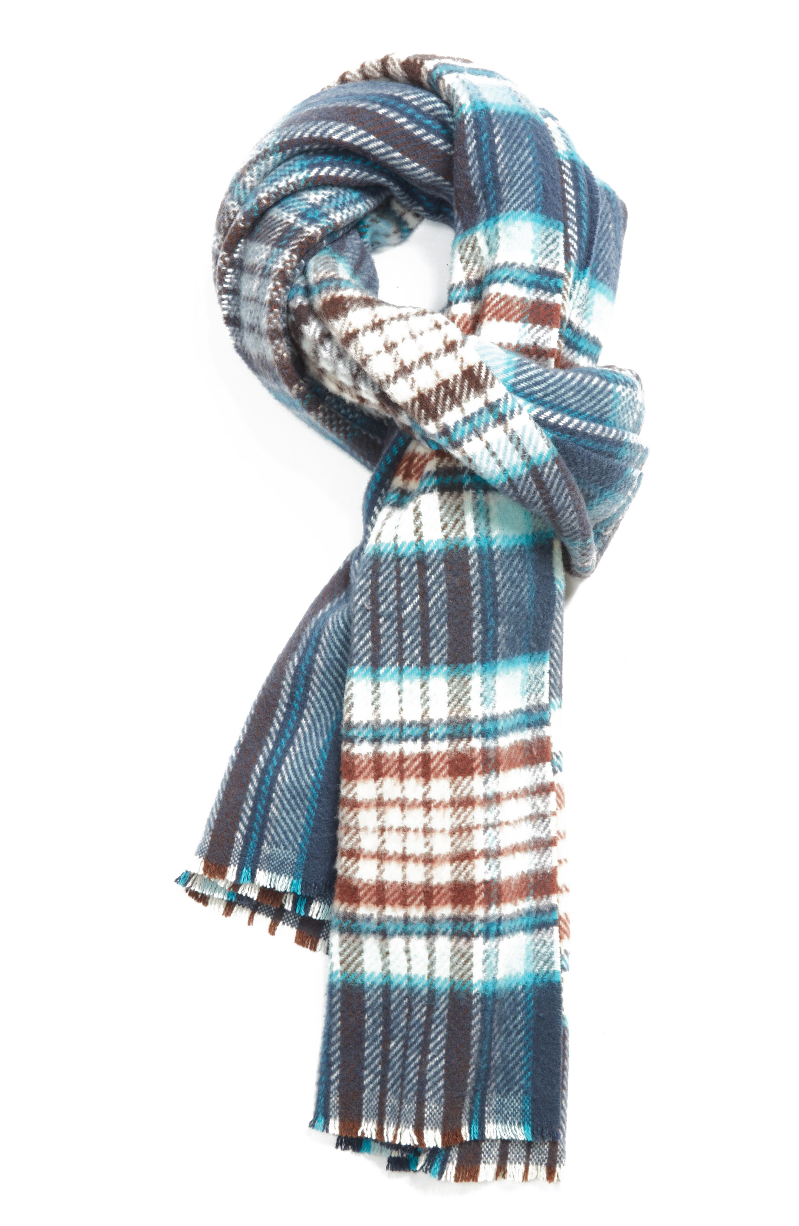 Check Wool Scarf,                             Main thumbnail 1, color,                             OATMEAL BEIGE / BLUE CHECK