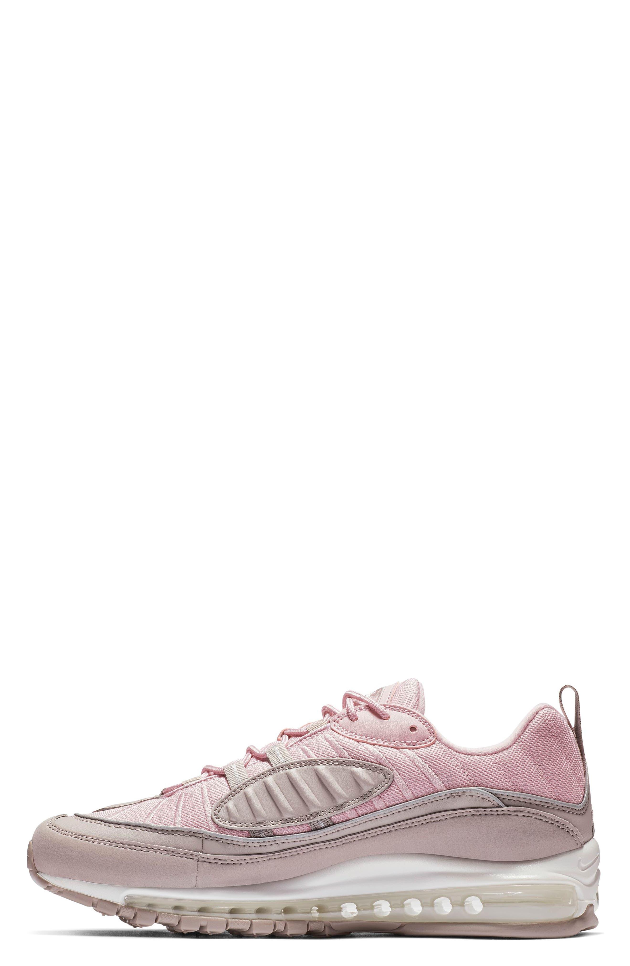 Air Max 98 Sneaker,                             Alternate thumbnail 3, color,                             PUMICE/ PLUM CHALK/ WHITE