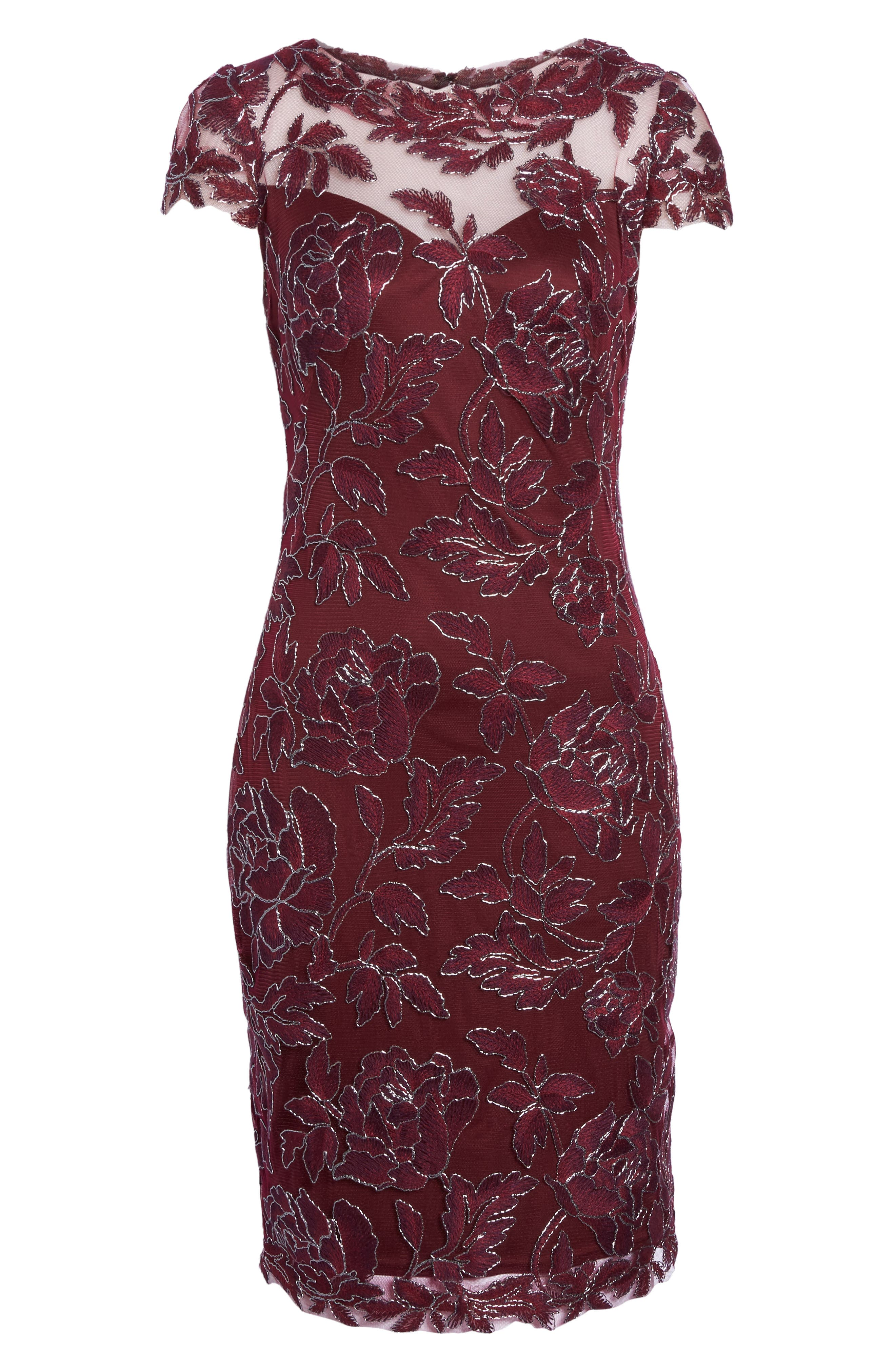 Embroidered Mesh Sheath Dress,                             Alternate thumbnail 18, color,
