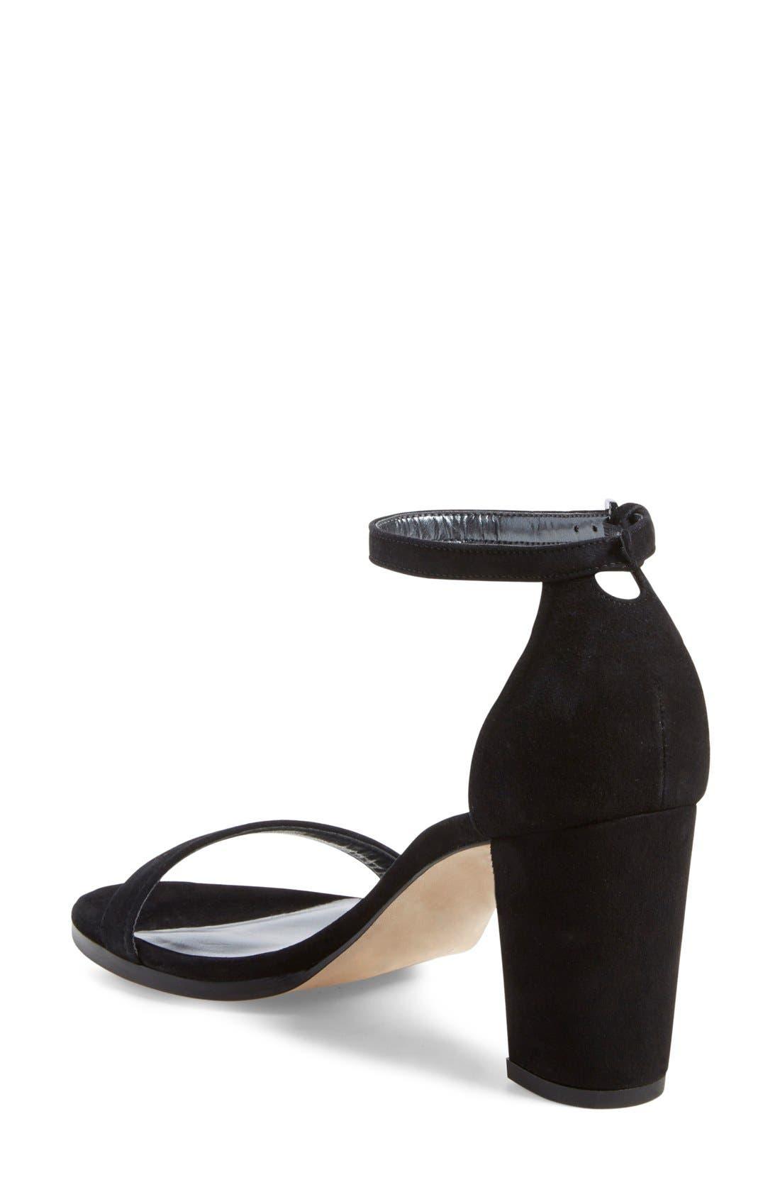 Simple Ankle Strap Sandal,                             Alternate thumbnail 8, color,                             BLACK SUEDE