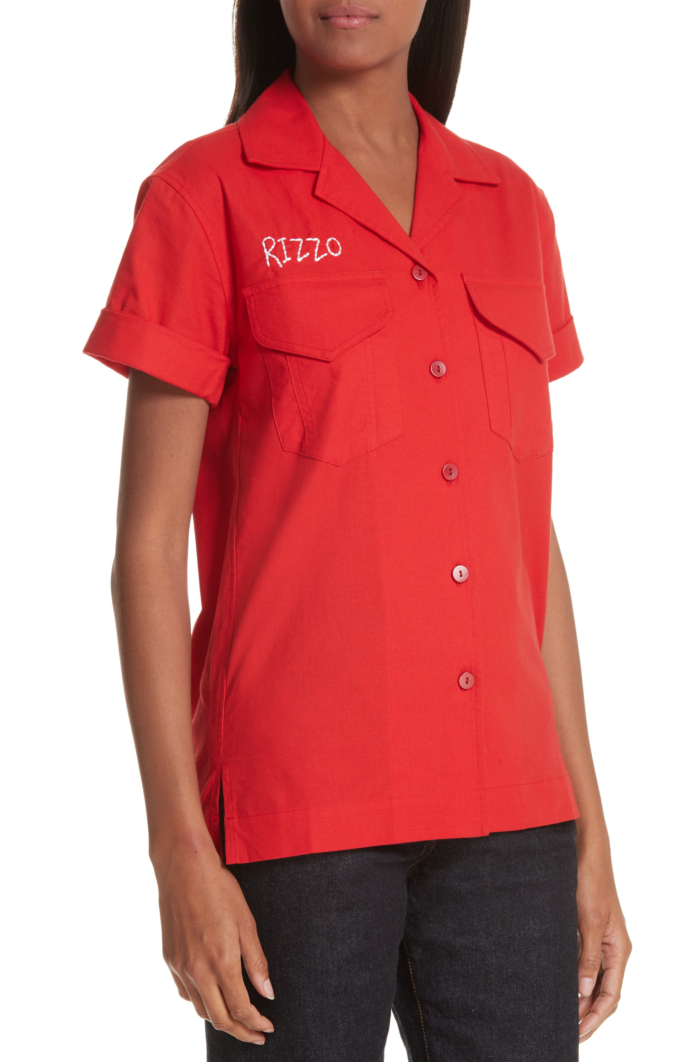 x Paramount Grease Rizzo Embroidered Mechanic Shirt,                             Alternate thumbnail 4, color,                             RIZZO RED