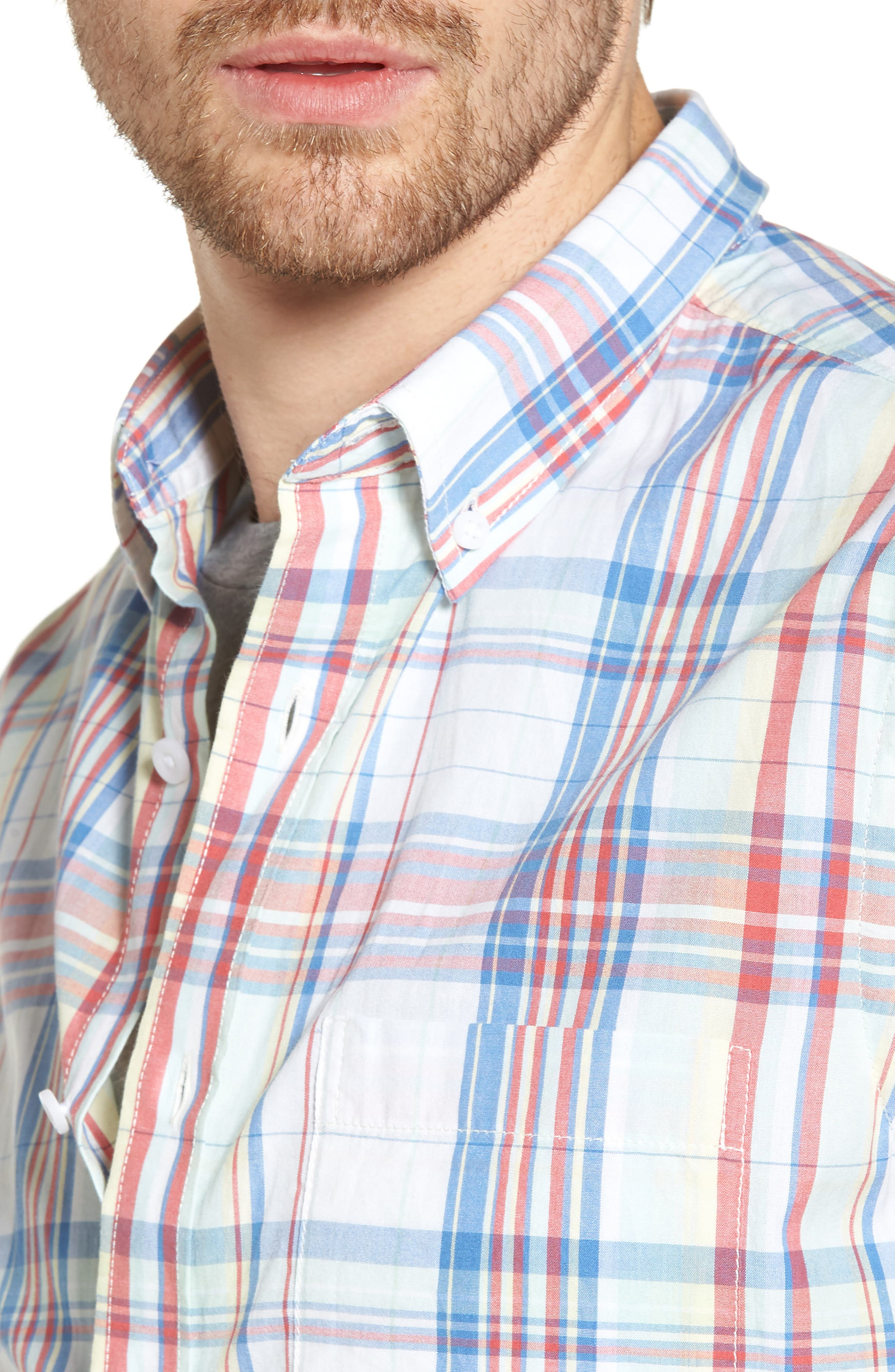 Trim Fit Plaid Short Sleeve Sport Shirt,                             Alternate thumbnail 4, color,