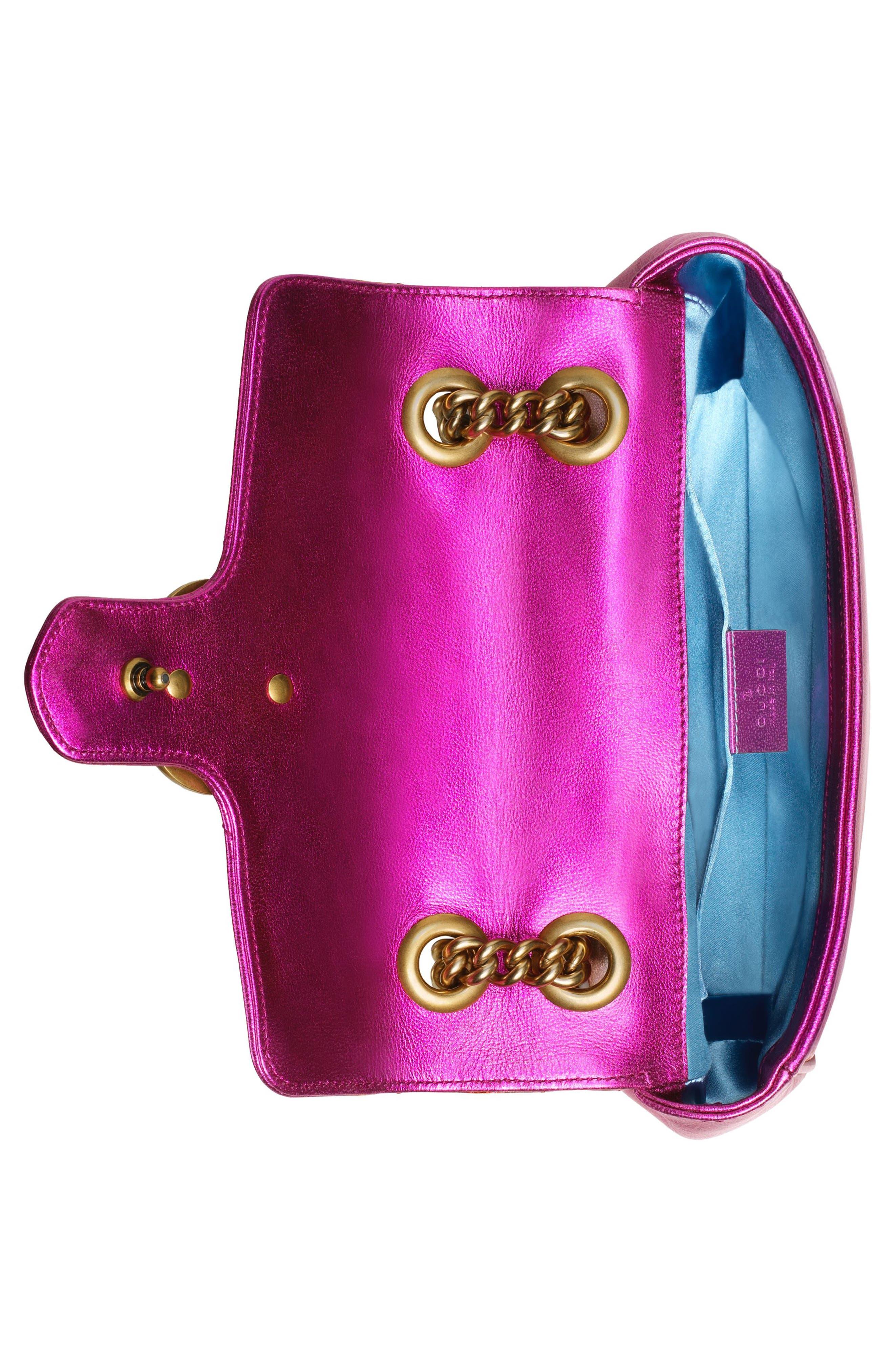 Mini Marmont 2.0 Metallic Leather Shoulder Bag,                             Alternate thumbnail 3, color,                             FUXIA/ ROSSO/ ROSA