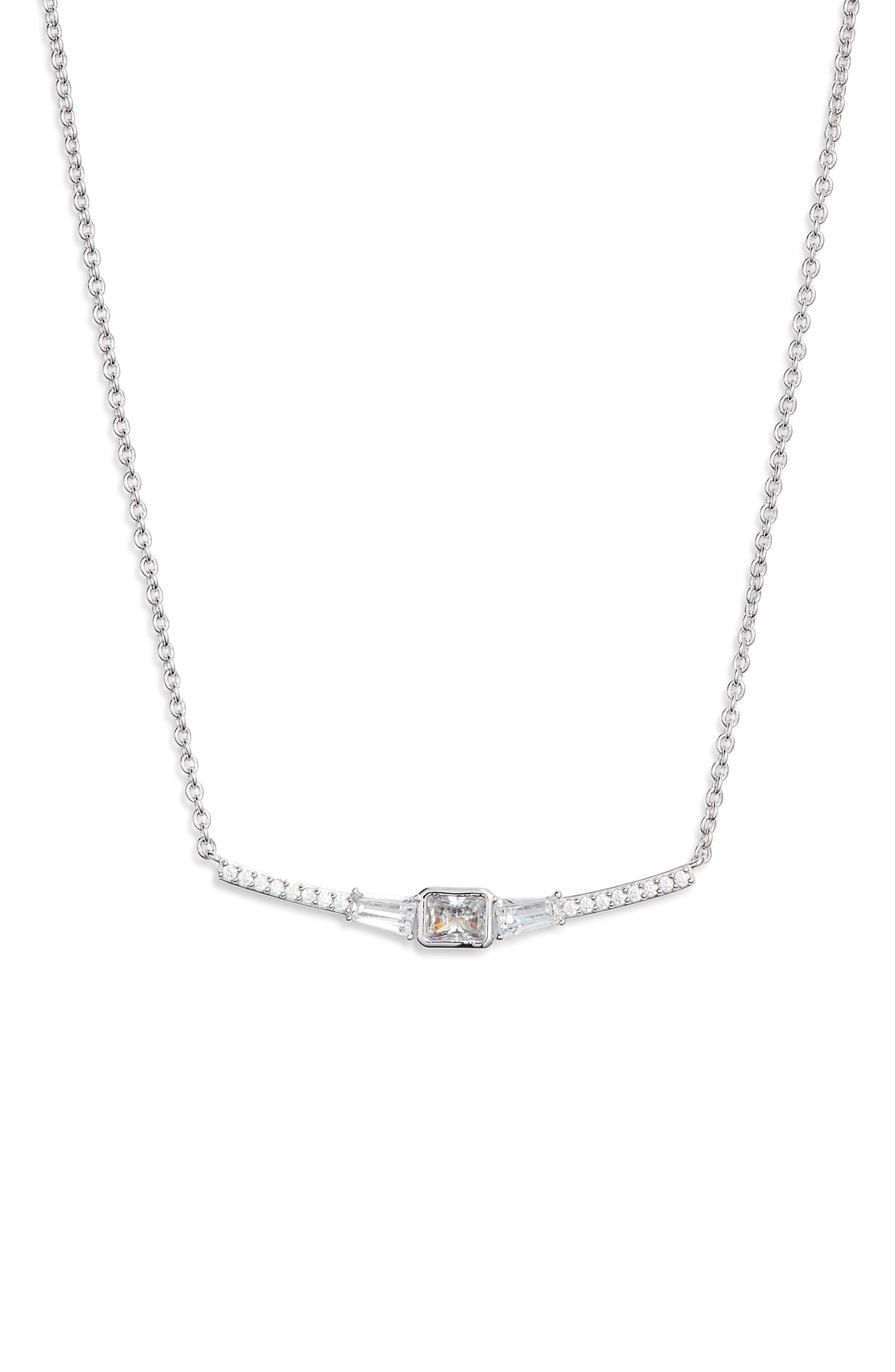 NADRI Baguette Bar Necklace in White
