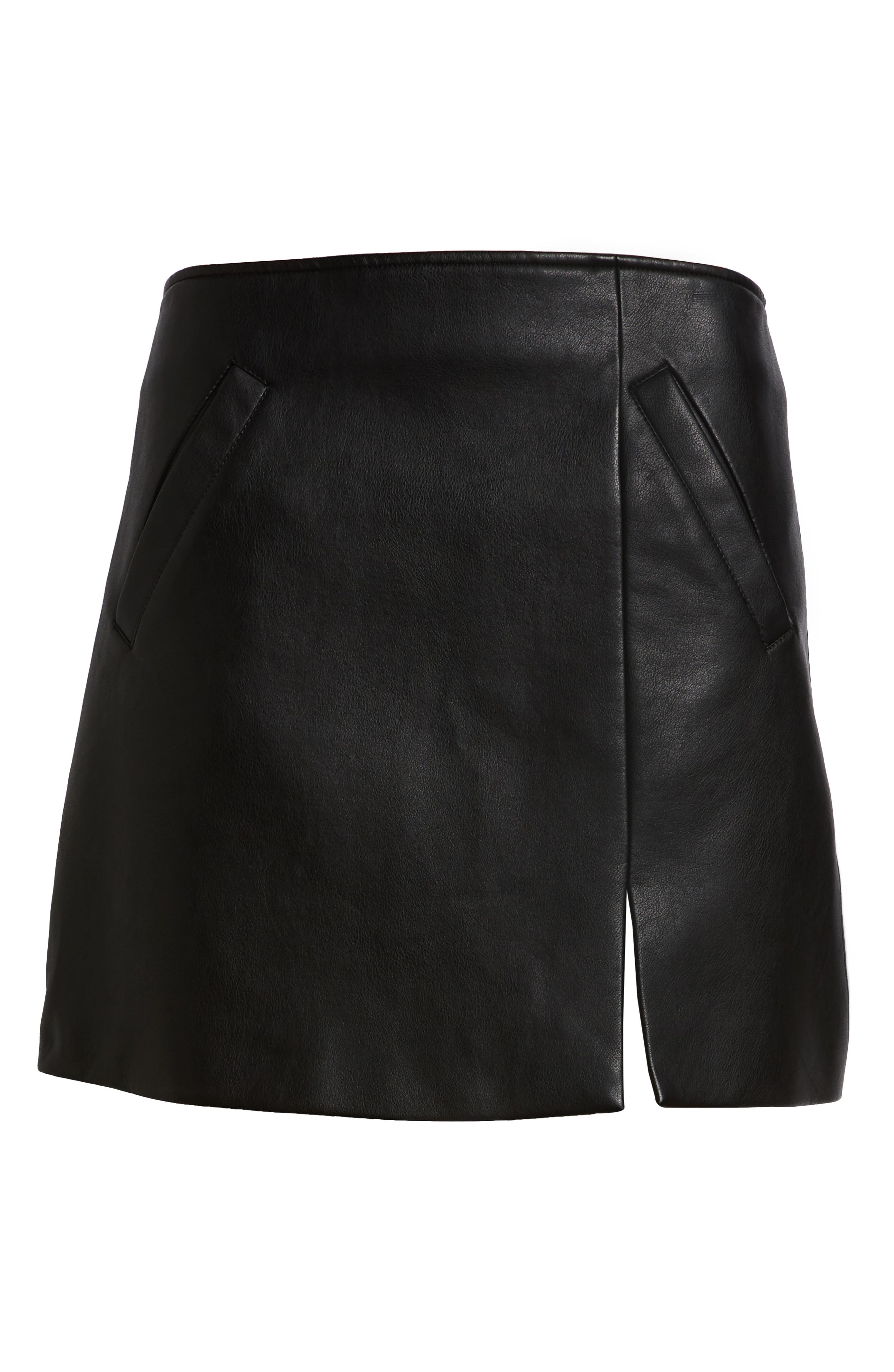 Faux Leather Miniskirt,                             Alternate thumbnail 6, color,                             LATCH ON