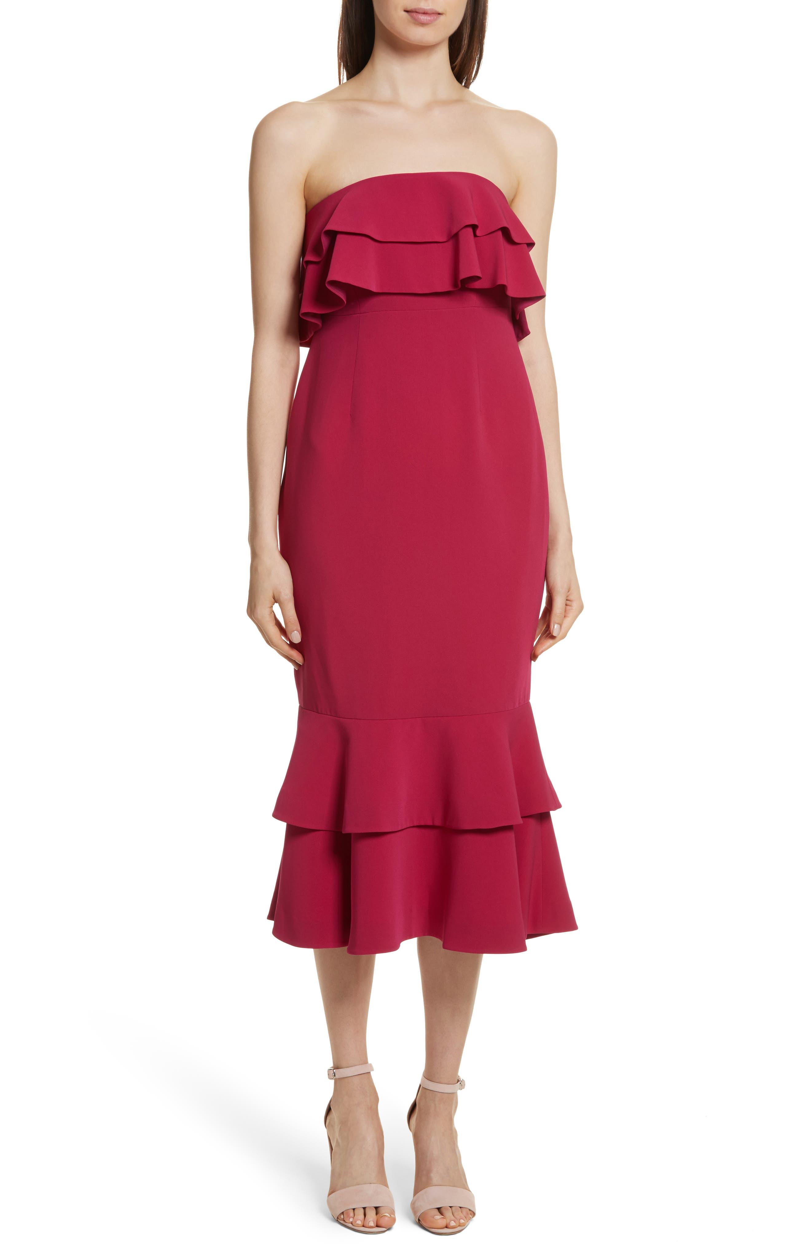 Ezana Ruffle Strapless Mermaid Dress,                         Main,                         color, 698