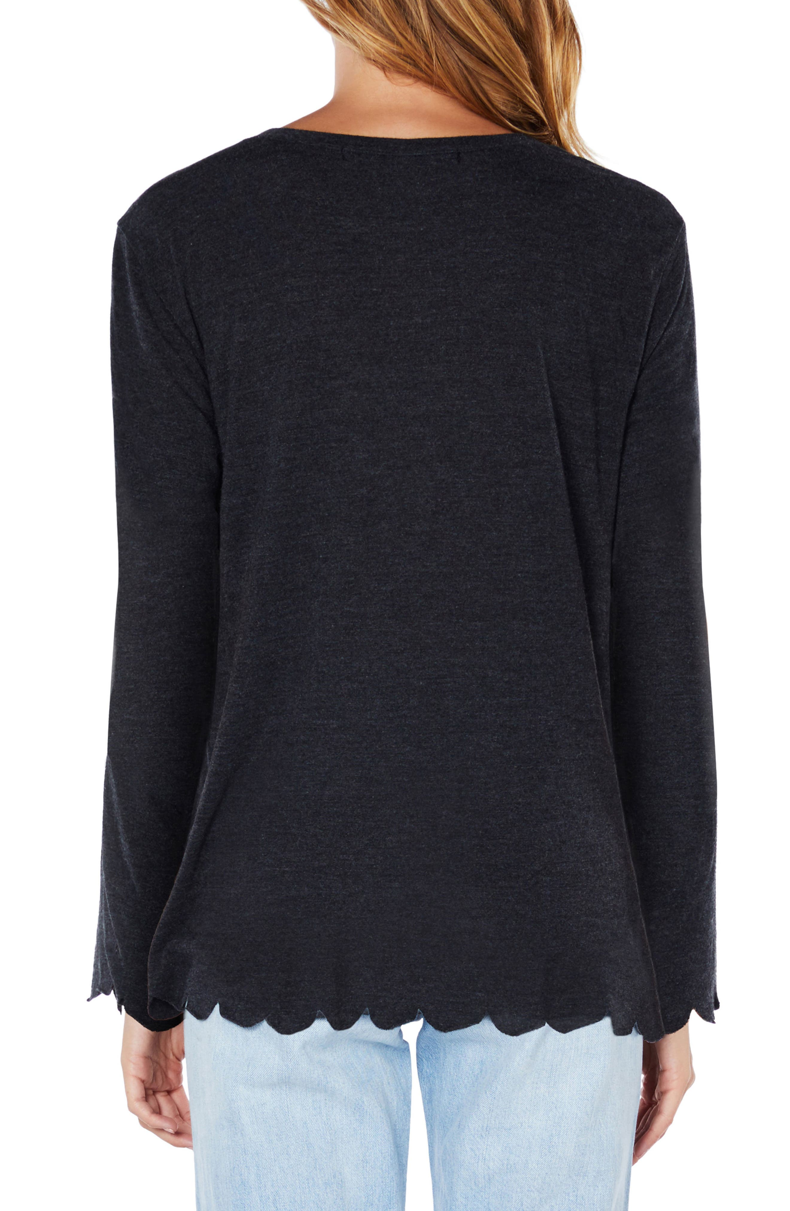 Scallop Trim Jersey Tee,                             Alternate thumbnail 2, color,                             003