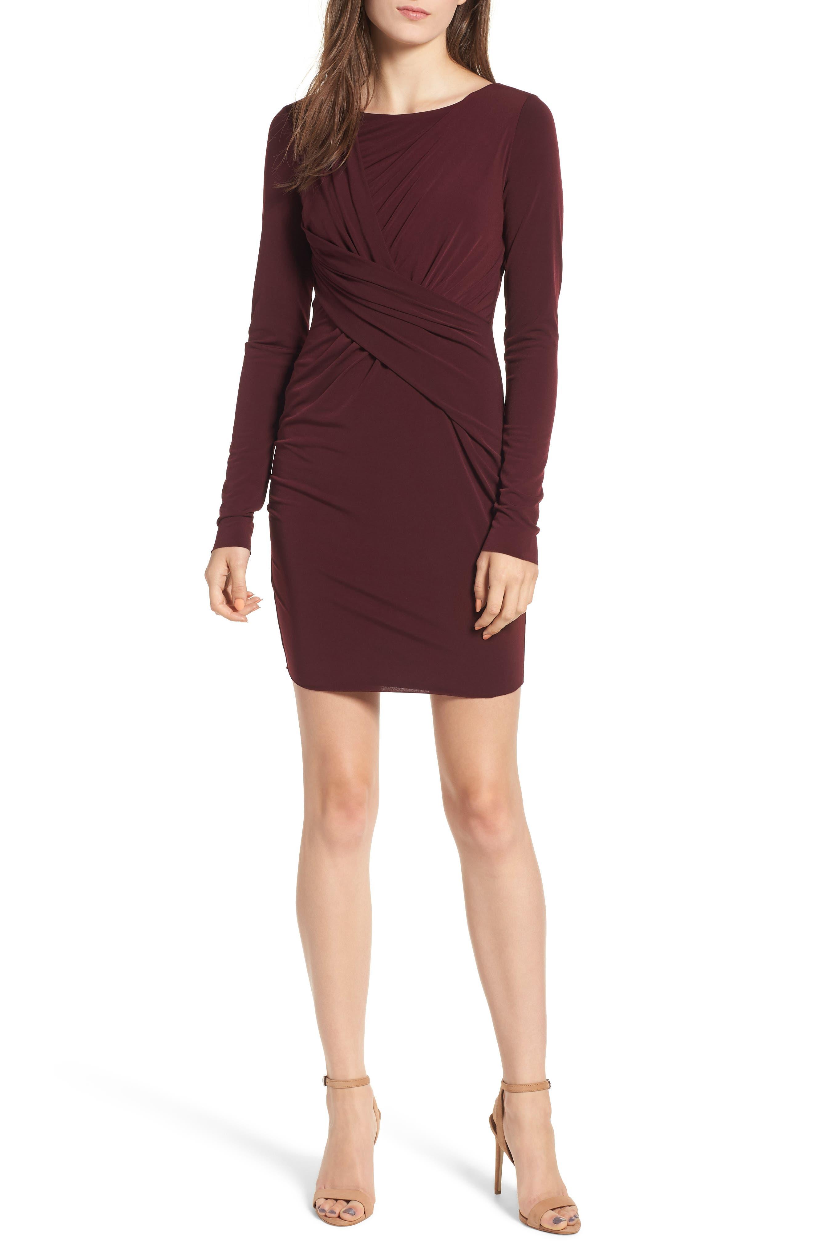 Bailey 44 Clandestine Drape Body-Con Dress, Burgundy