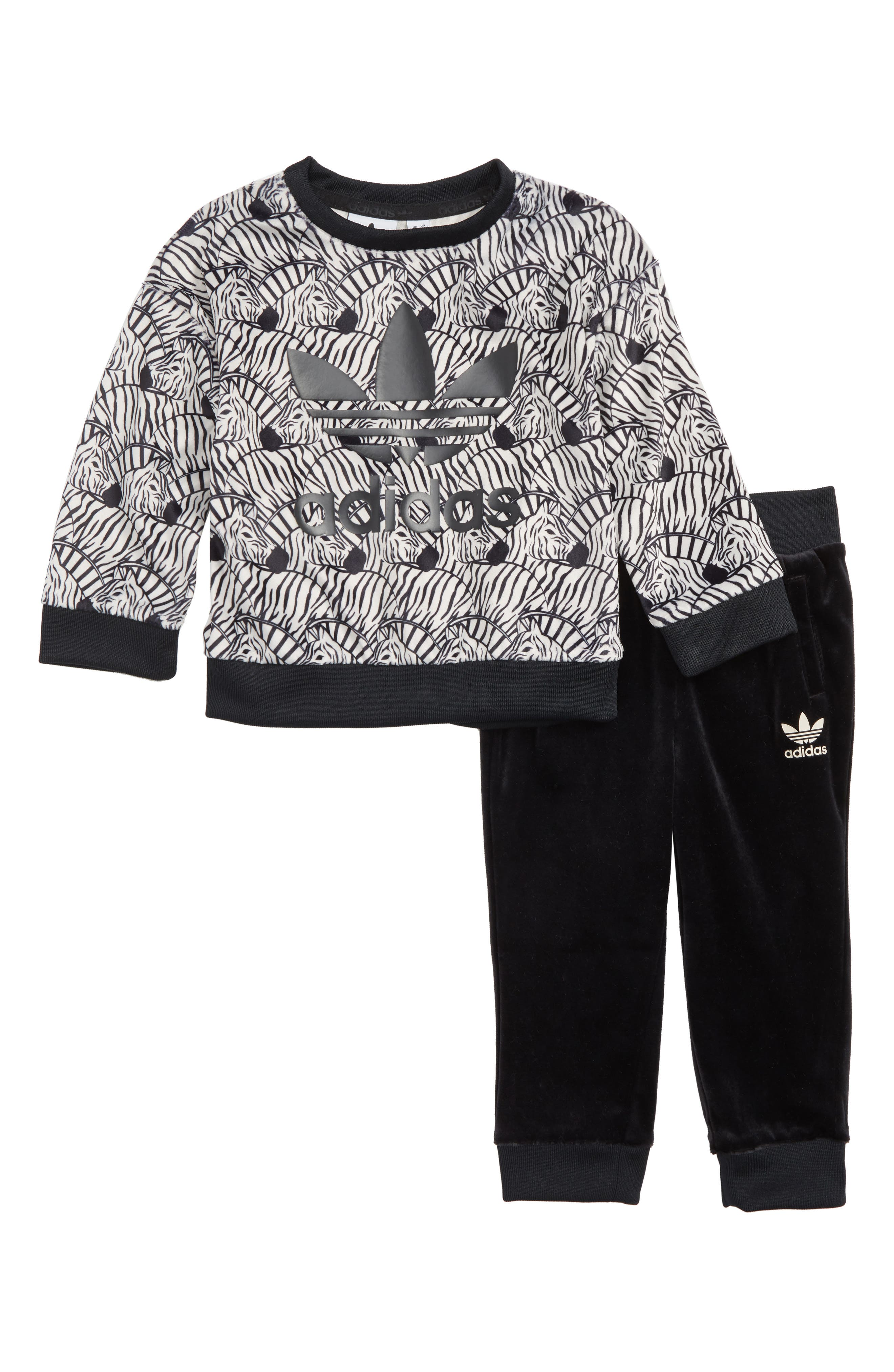 Zebra Sweatshirt & Velvet Pants Set,                             Main thumbnail 1, color,                             BROWN/BLACK