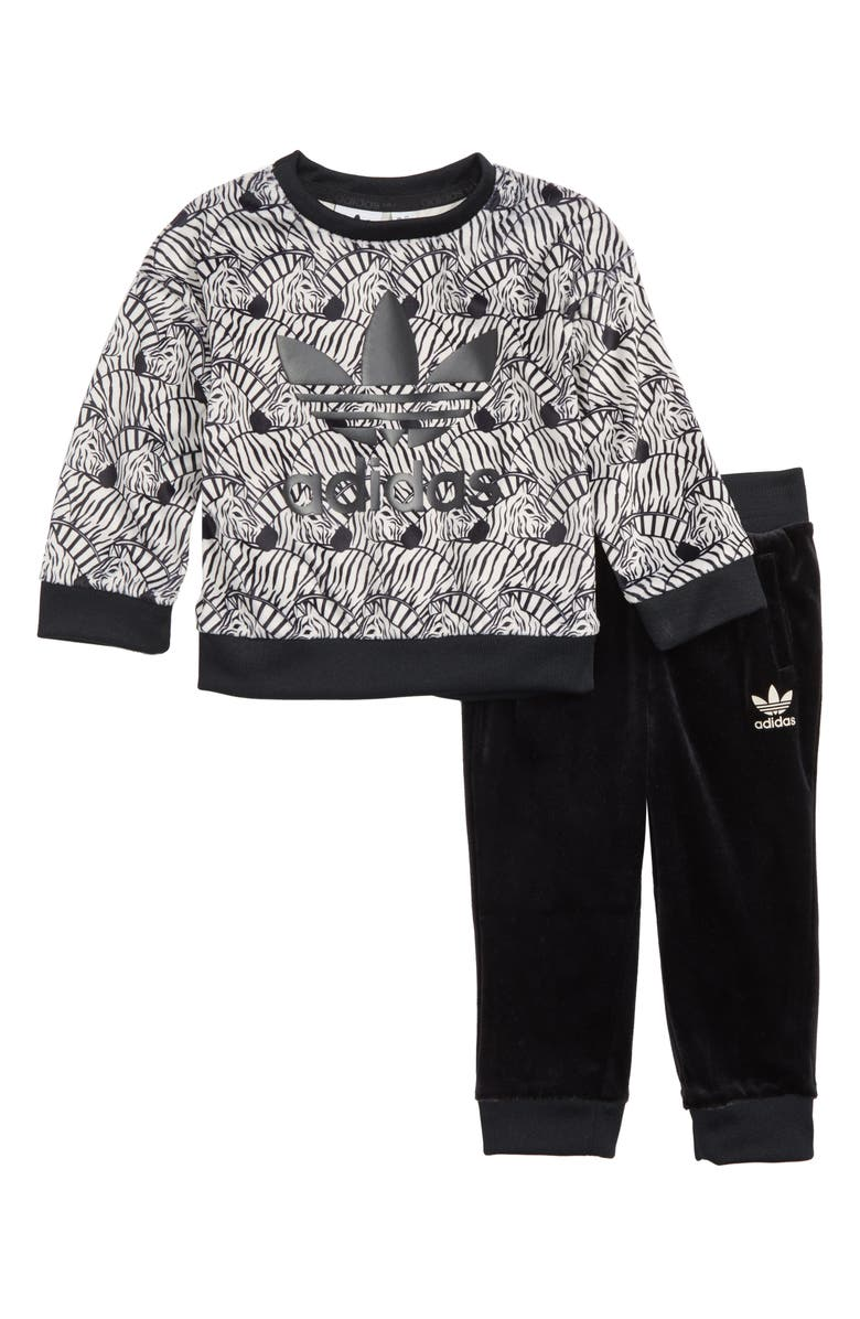 adidas Originals Zebra Sweatshirt   Velvet Pants Set (Toddler Girls ... f9023c58d4a9