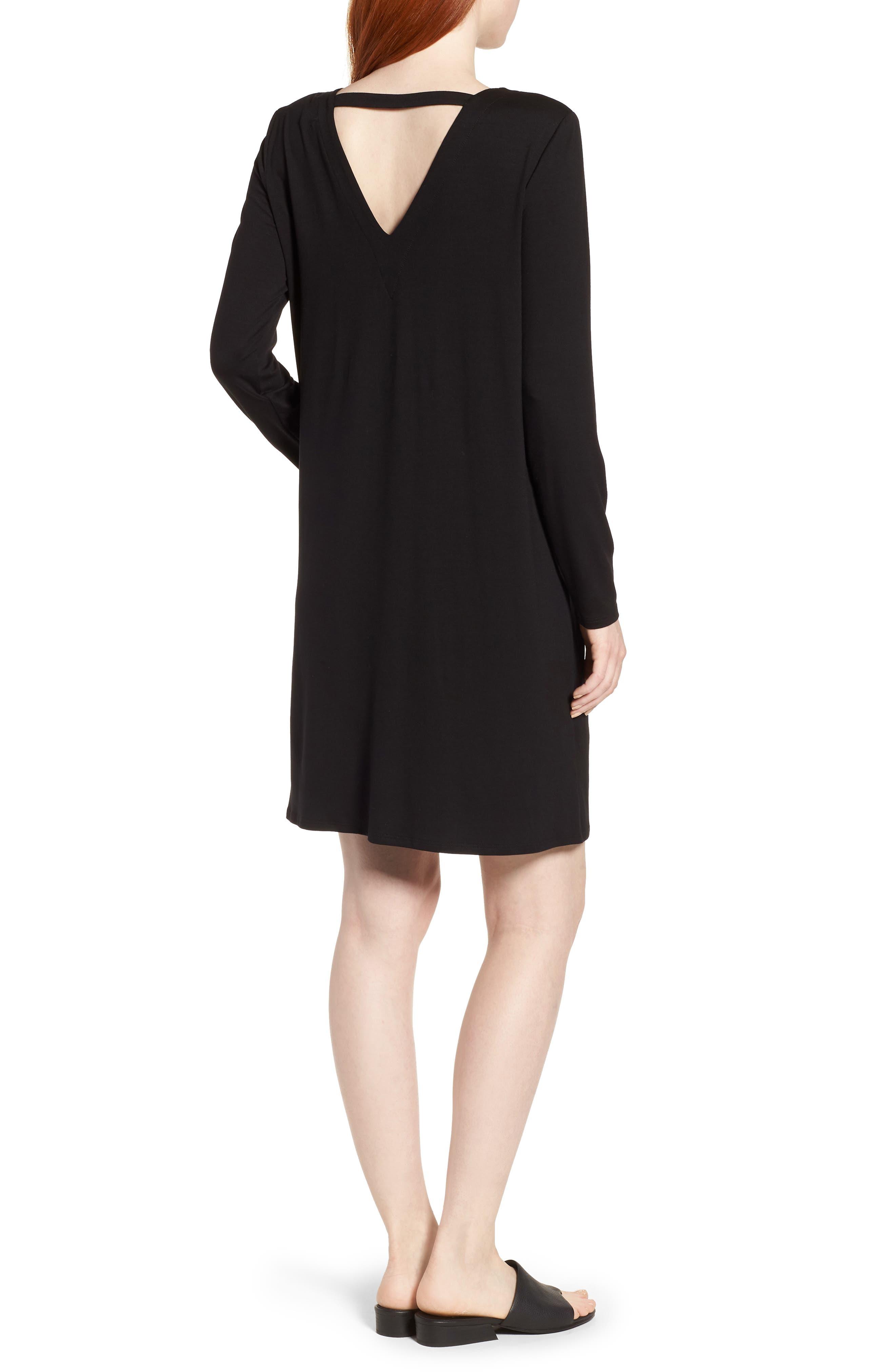 V-Back Stretch Tencel<sup>®</sup> Lyocell Shift Dress,                             Alternate thumbnail 2, color,                             001