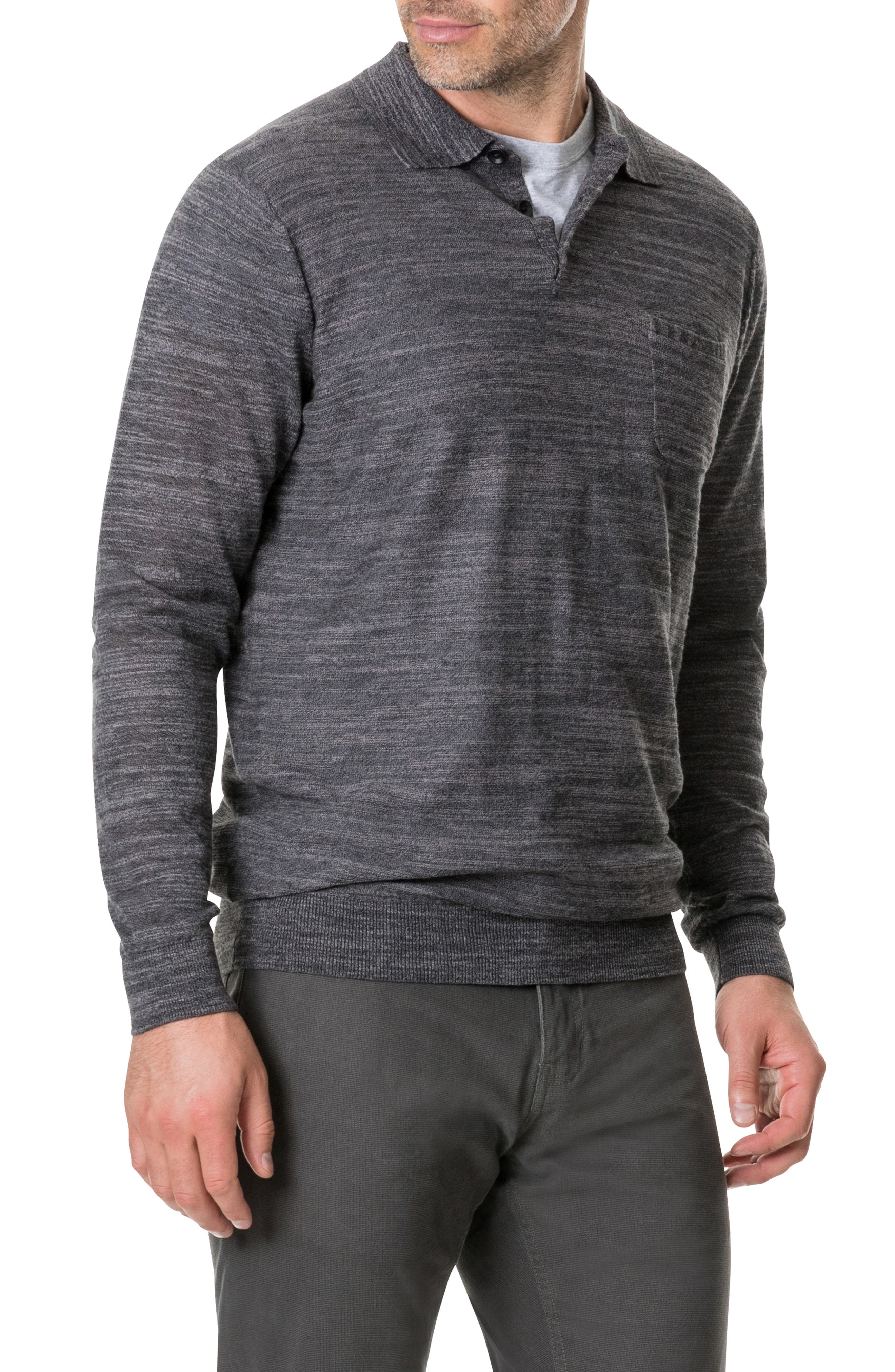 Barret Reef Long Sleeve Polo,                             Alternate thumbnail 3, color,                             CHARCOAL