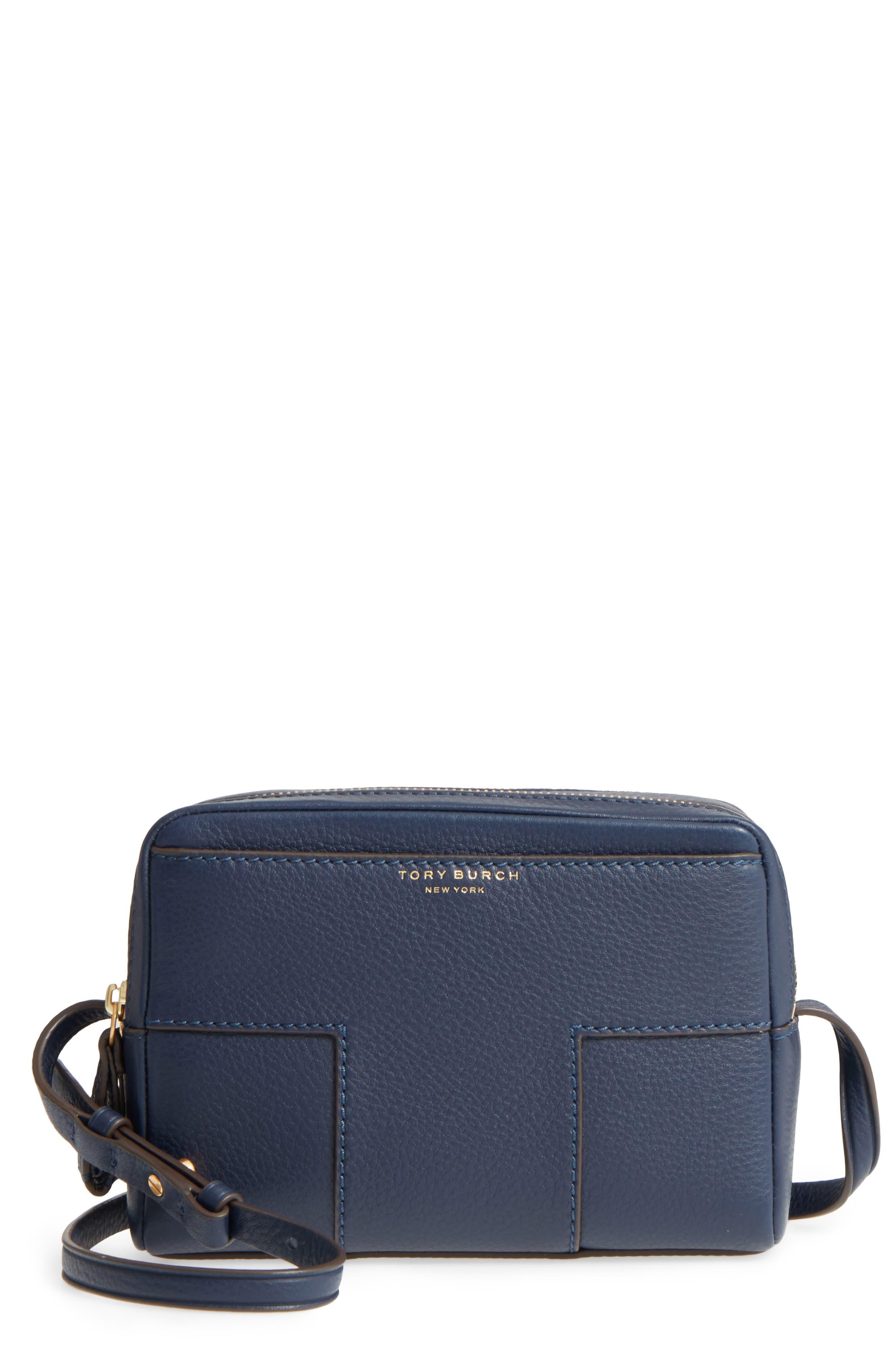 Block-T Double Zip Leather Crossbody Bag,                             Main thumbnail 2, color,