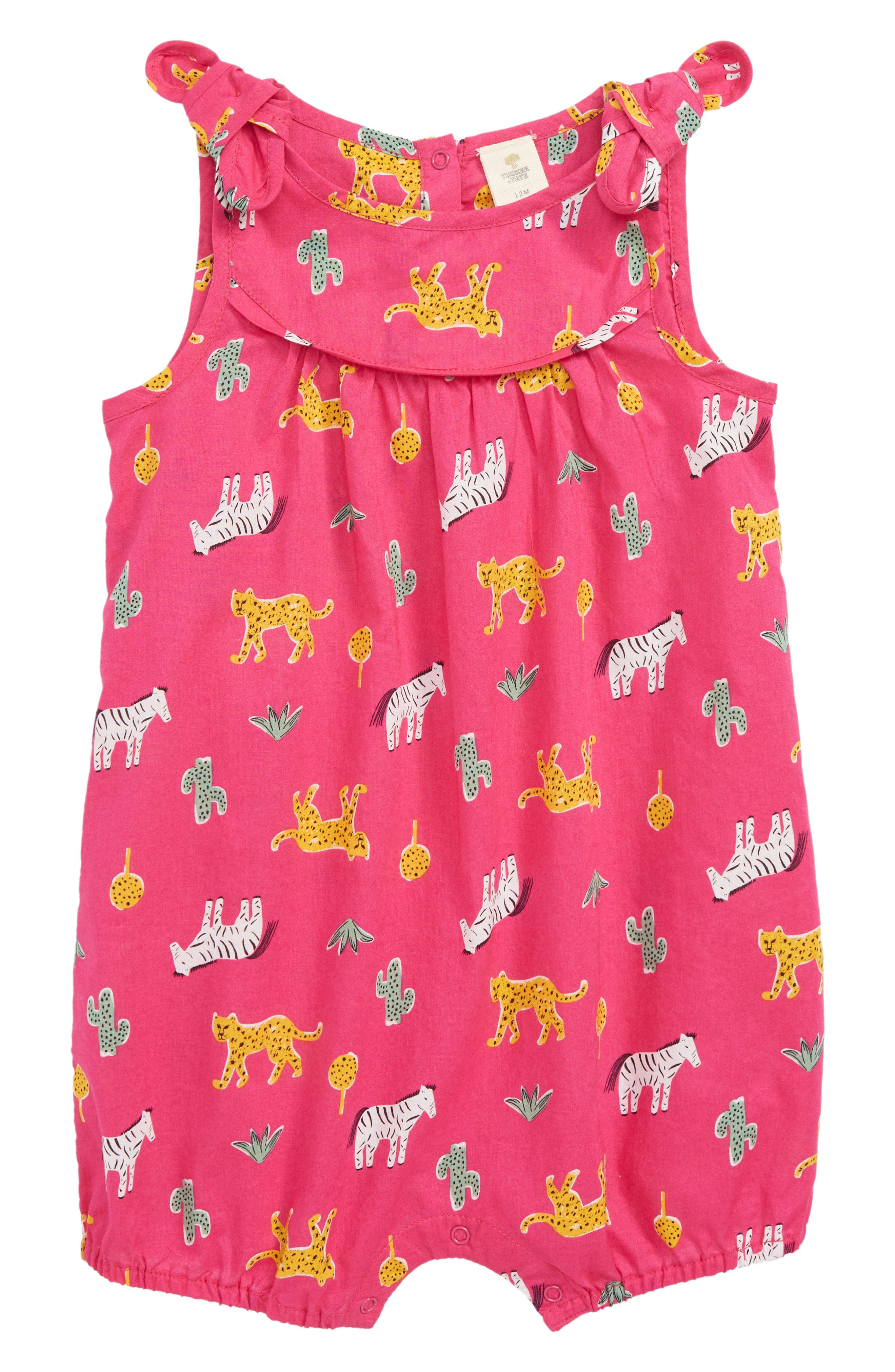 Floral Print Romper,                             Main thumbnail 1, color,                             PINK BERRY SAFARI