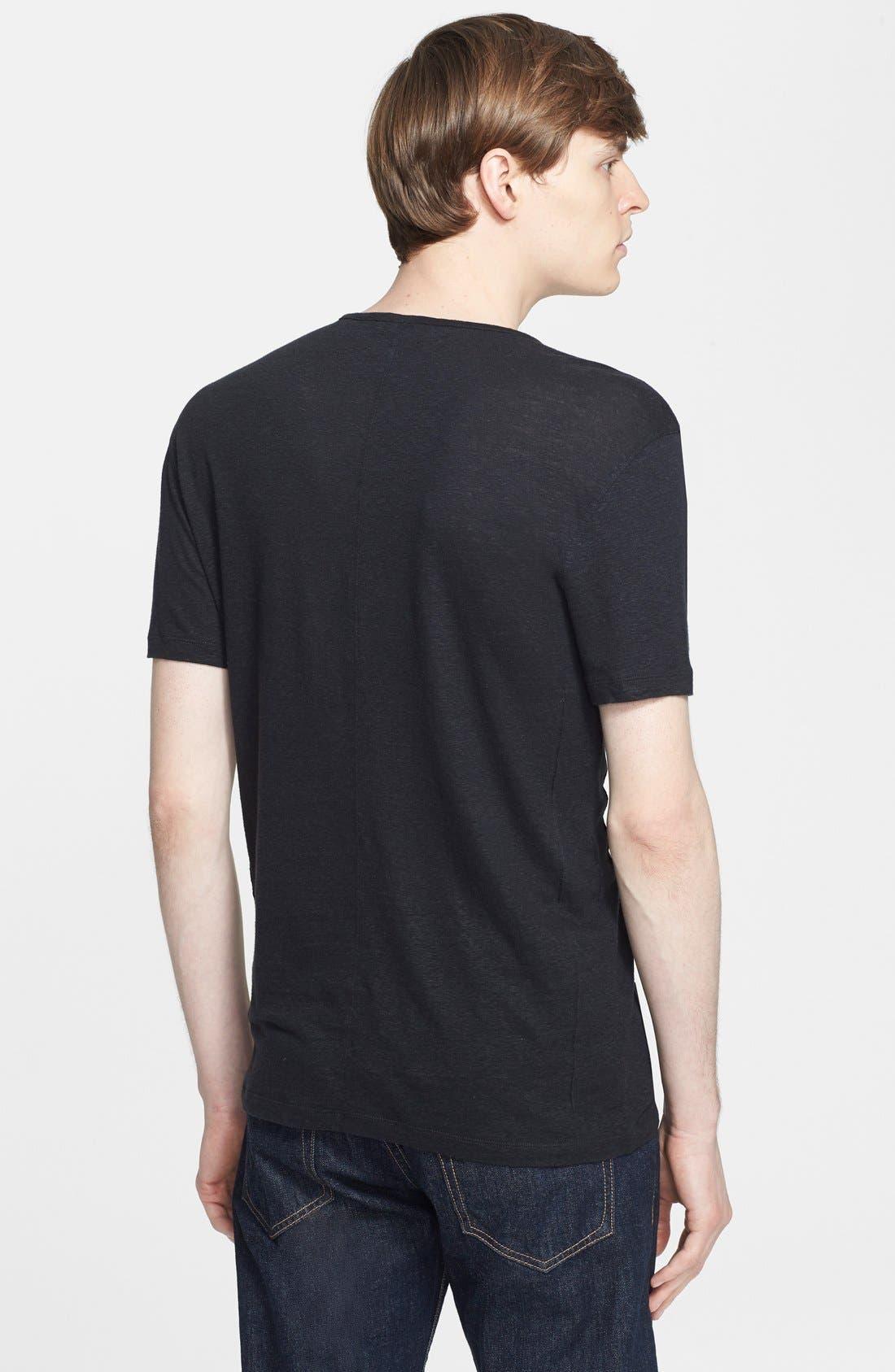 Pintuck V-Neck T-Shirt,                             Alternate thumbnail 3, color,                             001