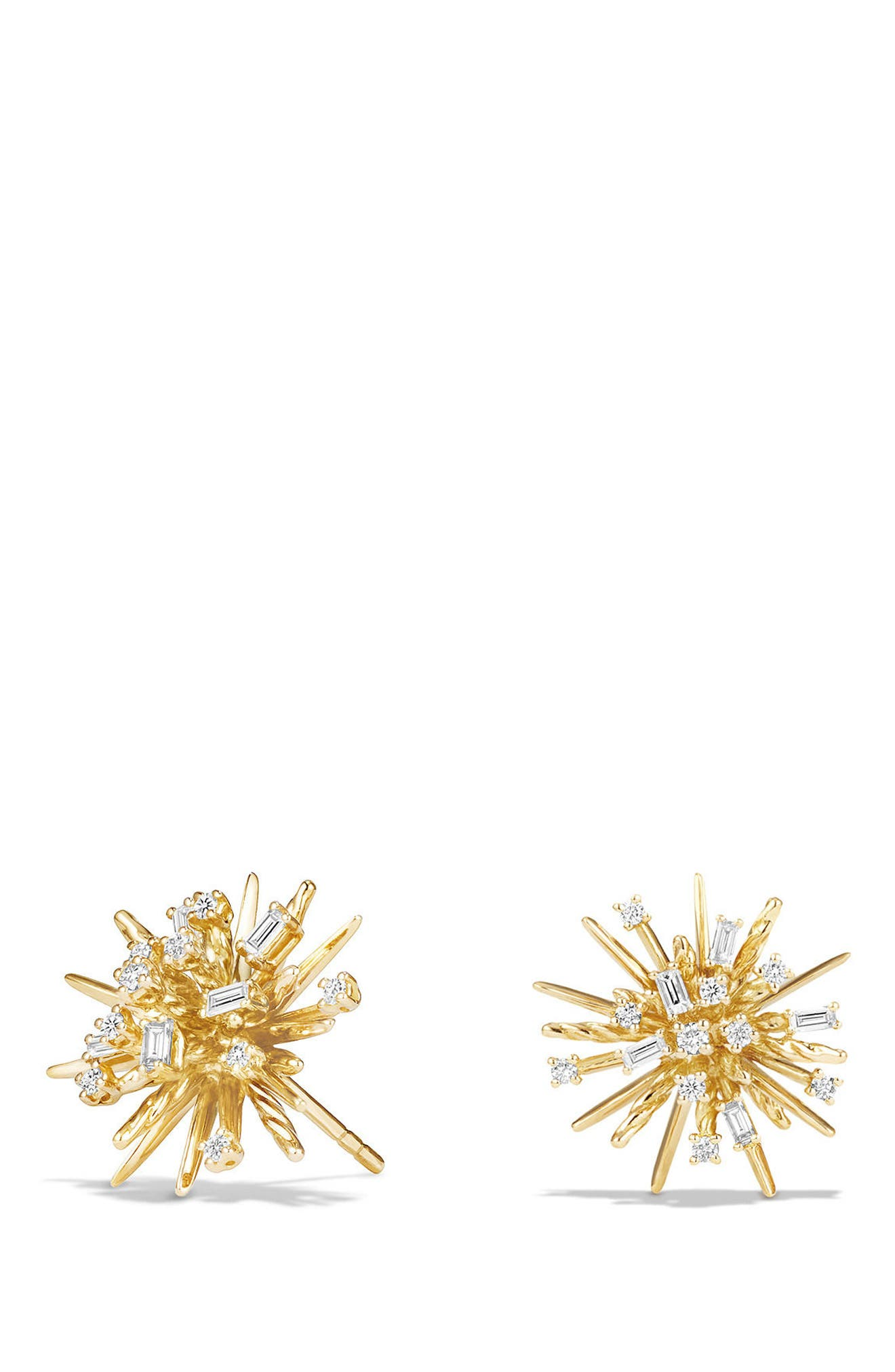 Supernova Stud Earrings with Diamonds in 18K Gold,                             Main thumbnail 1, color,                             YELLOW GOLD