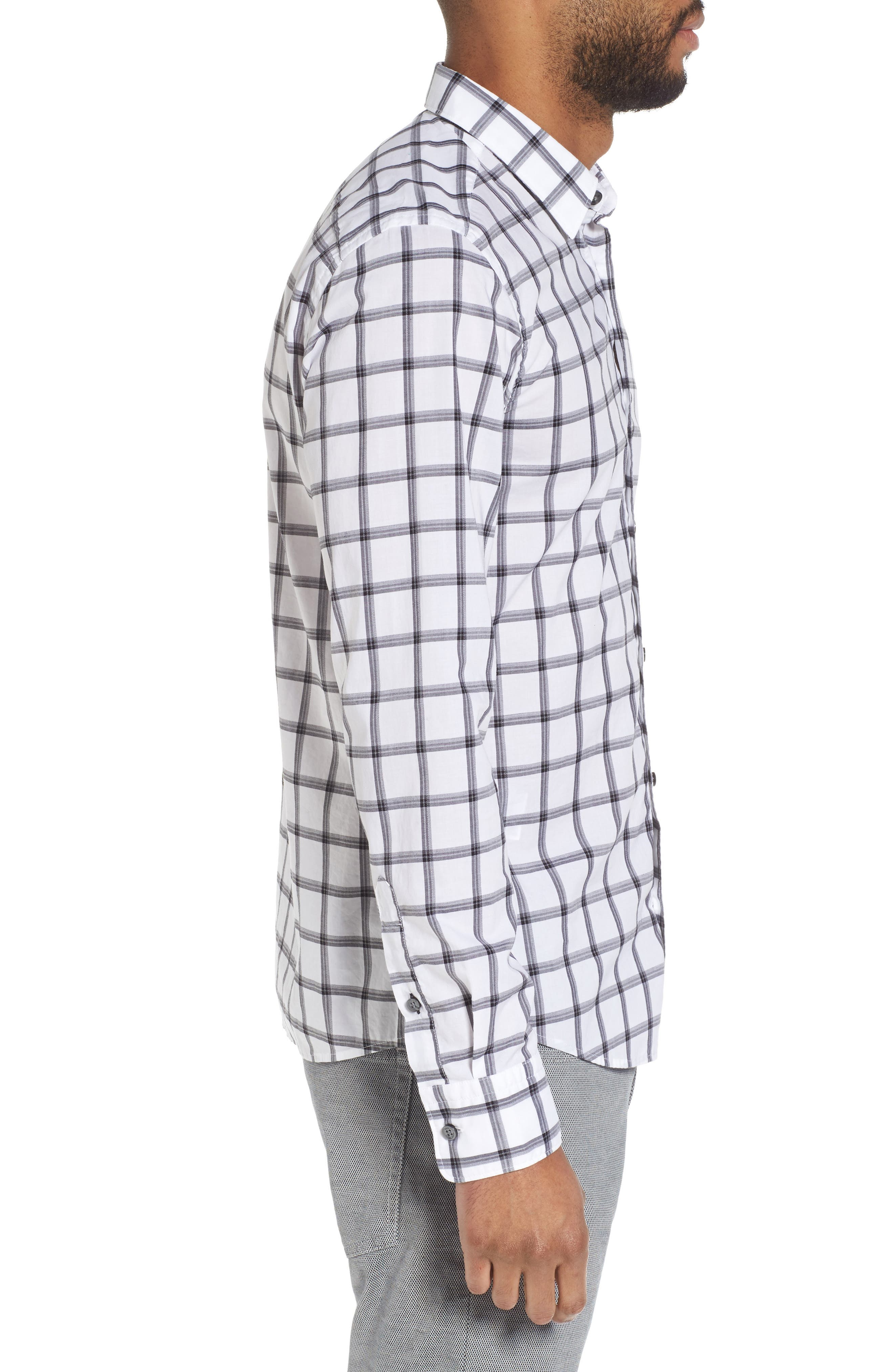Reid Slim Fit Windowpane Sport Shirt,                             Alternate thumbnail 3, color,                             001