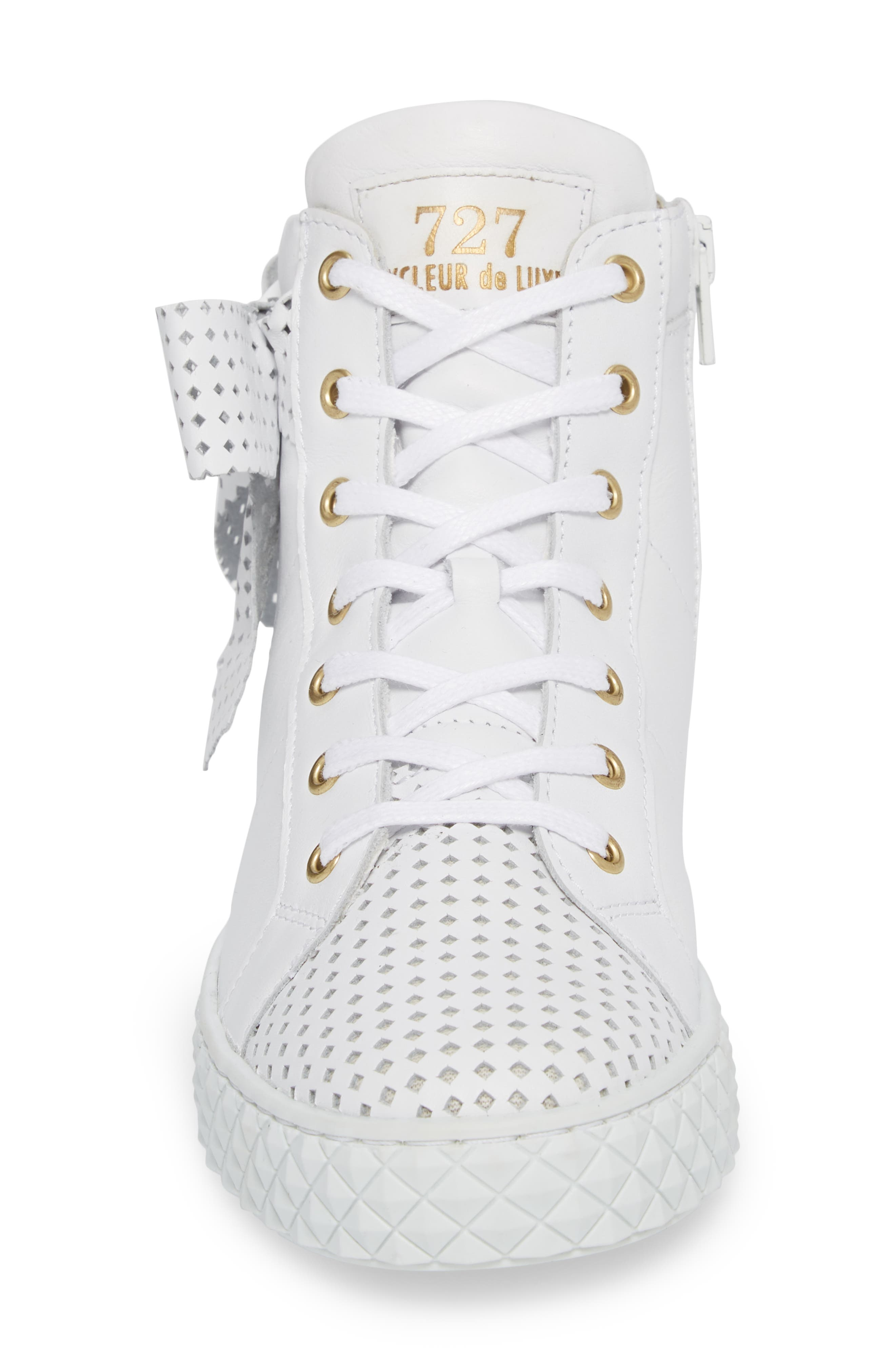 Avery High Top Sneaker,                             Alternate thumbnail 4, color,                             WHITE LEATHER