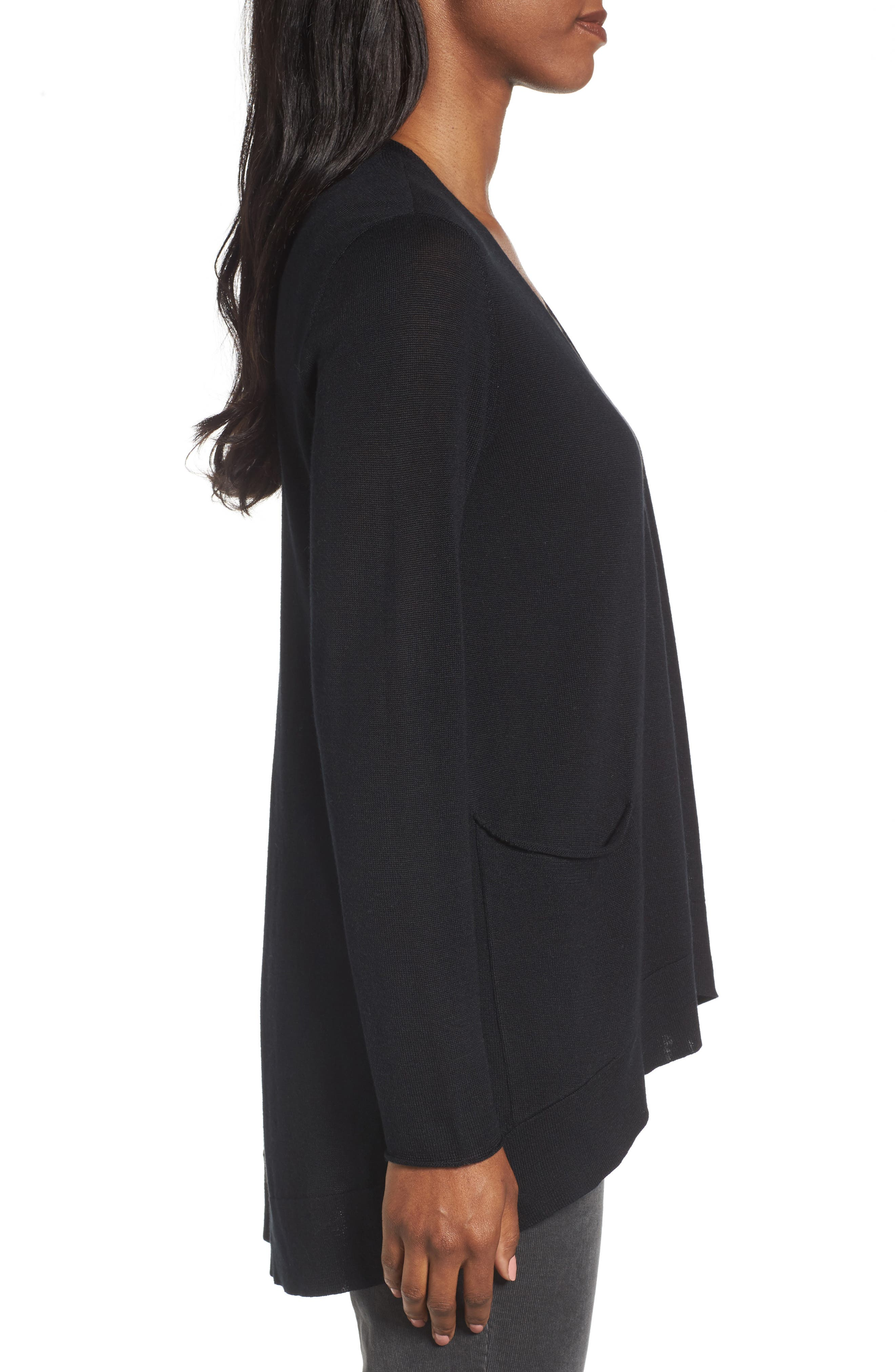 Slouchy Tencel<sup>®</sup> Blend Cardigan,                             Alternate thumbnail 3, color,                             001