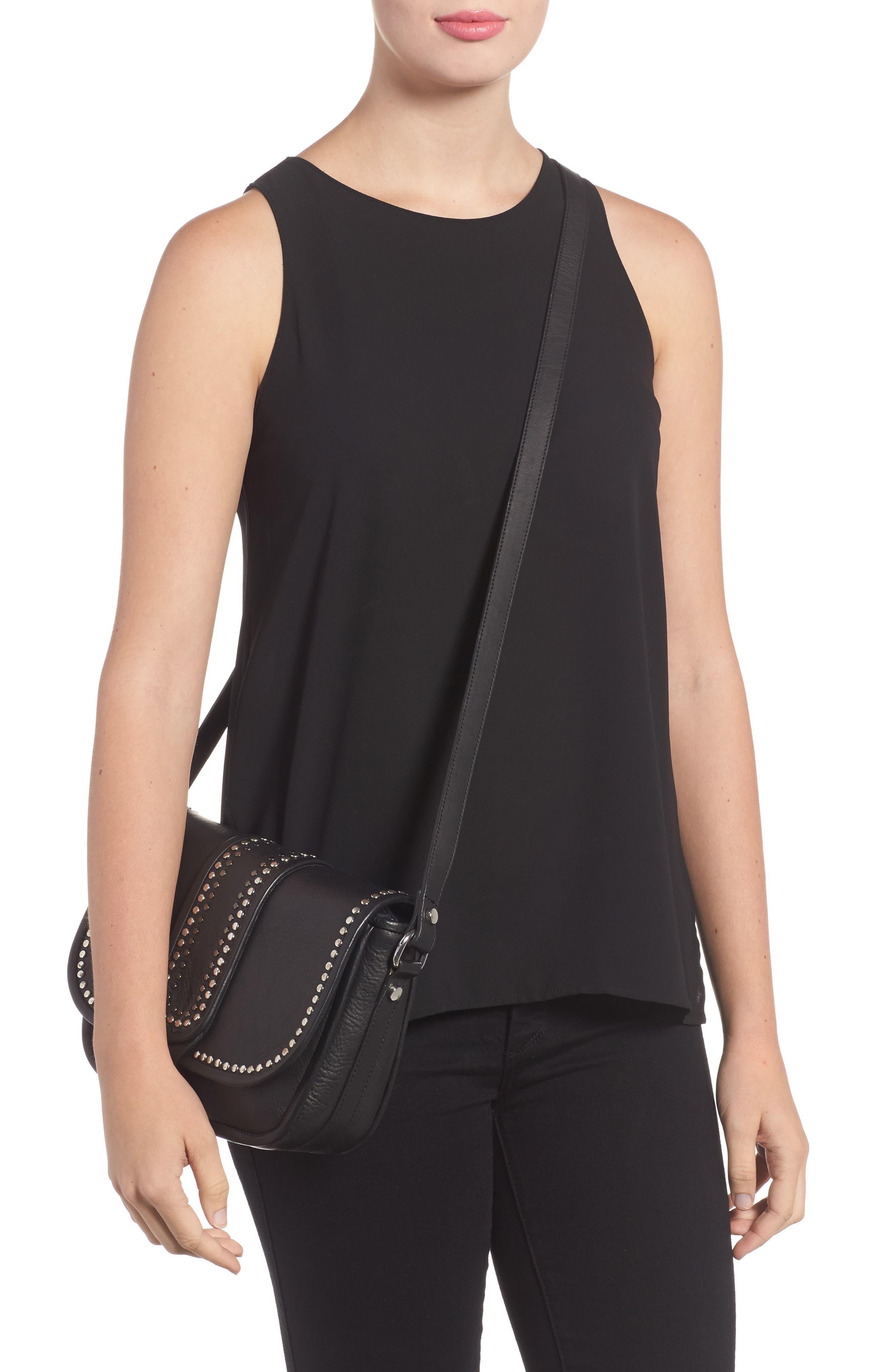 Premium Leather Studded Shoulder Bag,                             Alternate thumbnail 4, color,