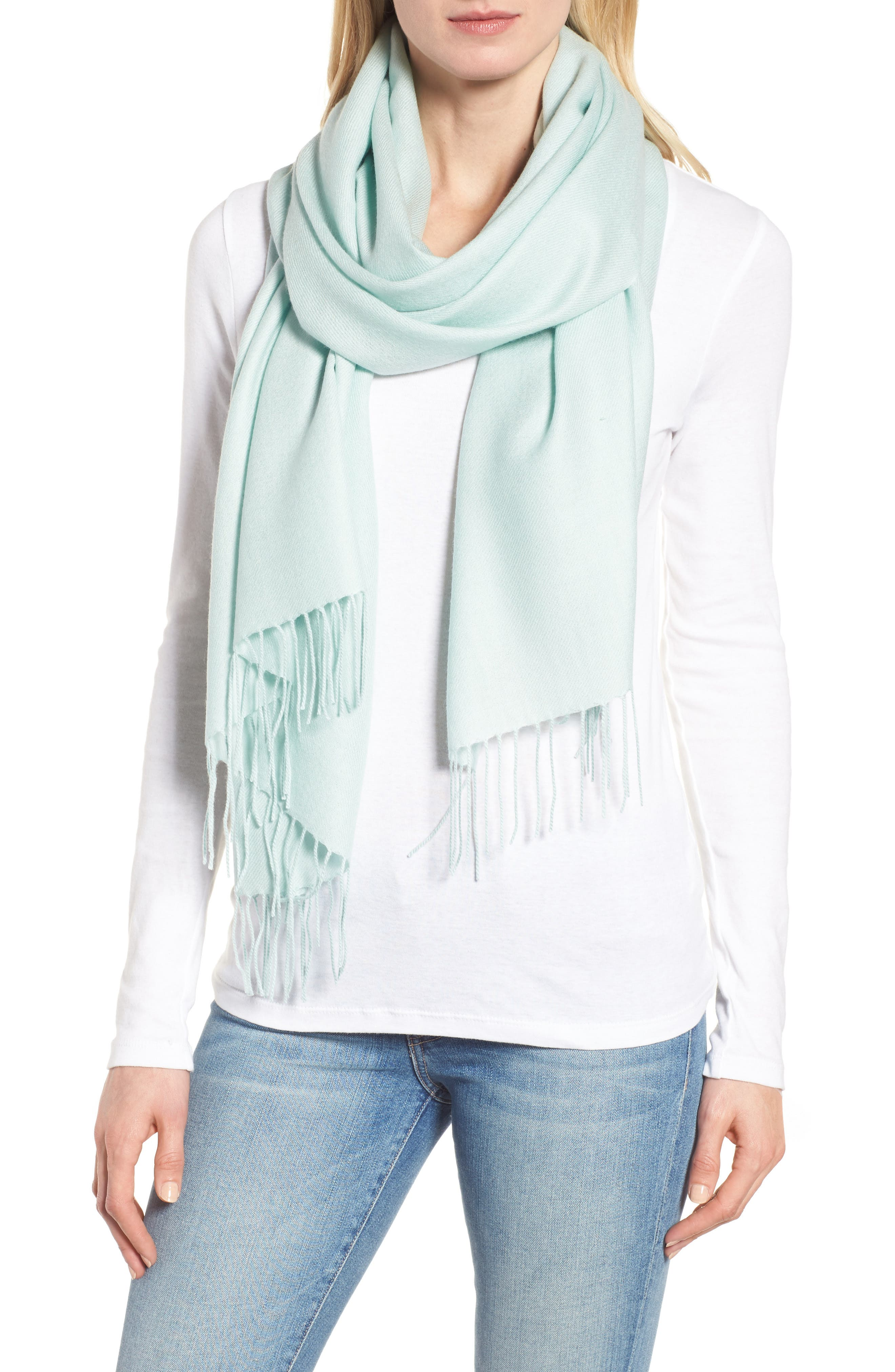 Tissue Weight Wool & Cashmere Scarf,                             Main thumbnail 5, color,
