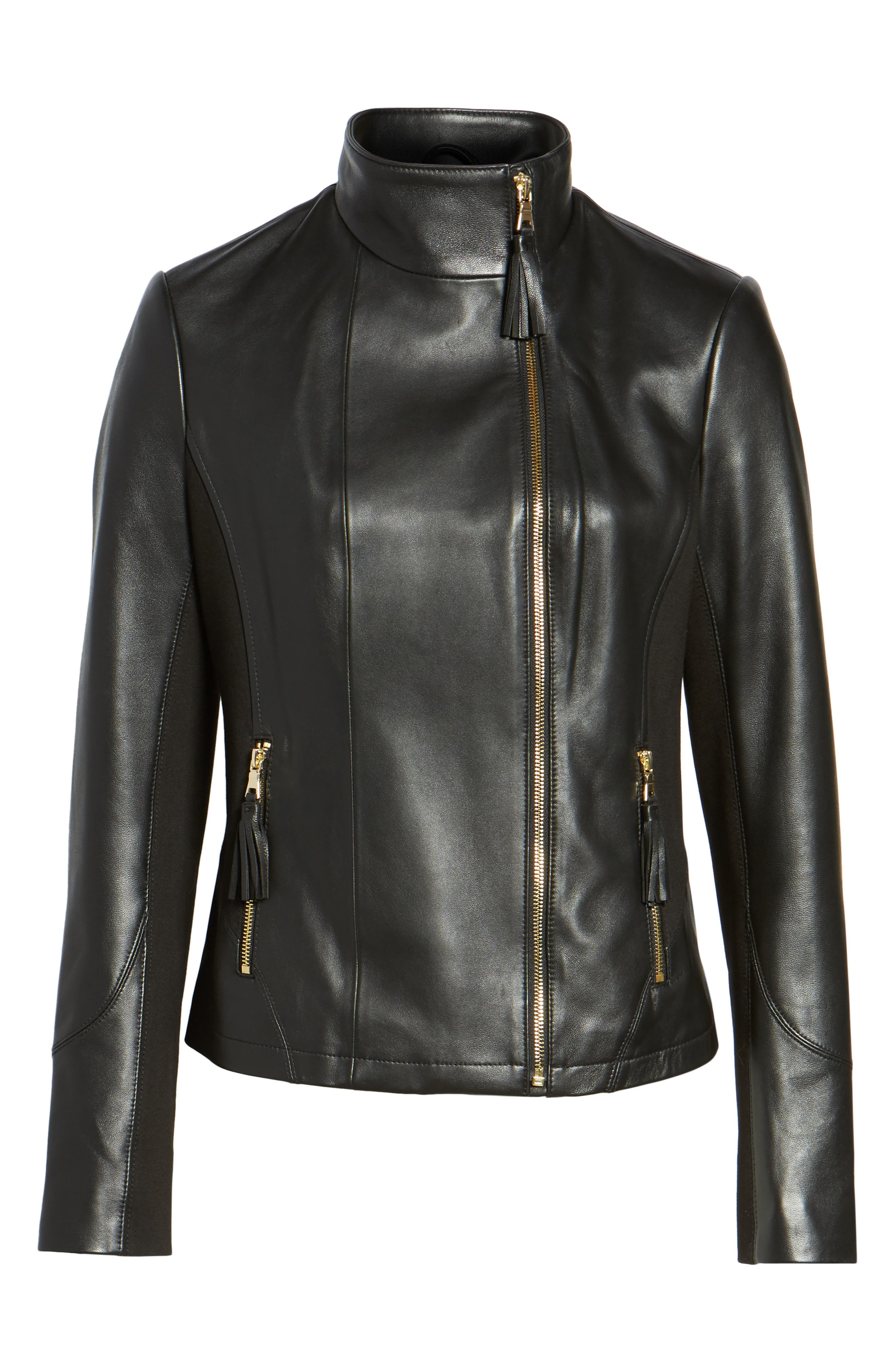 Ponte & Leather Jacket,                             Alternate thumbnail 5, color,                             001